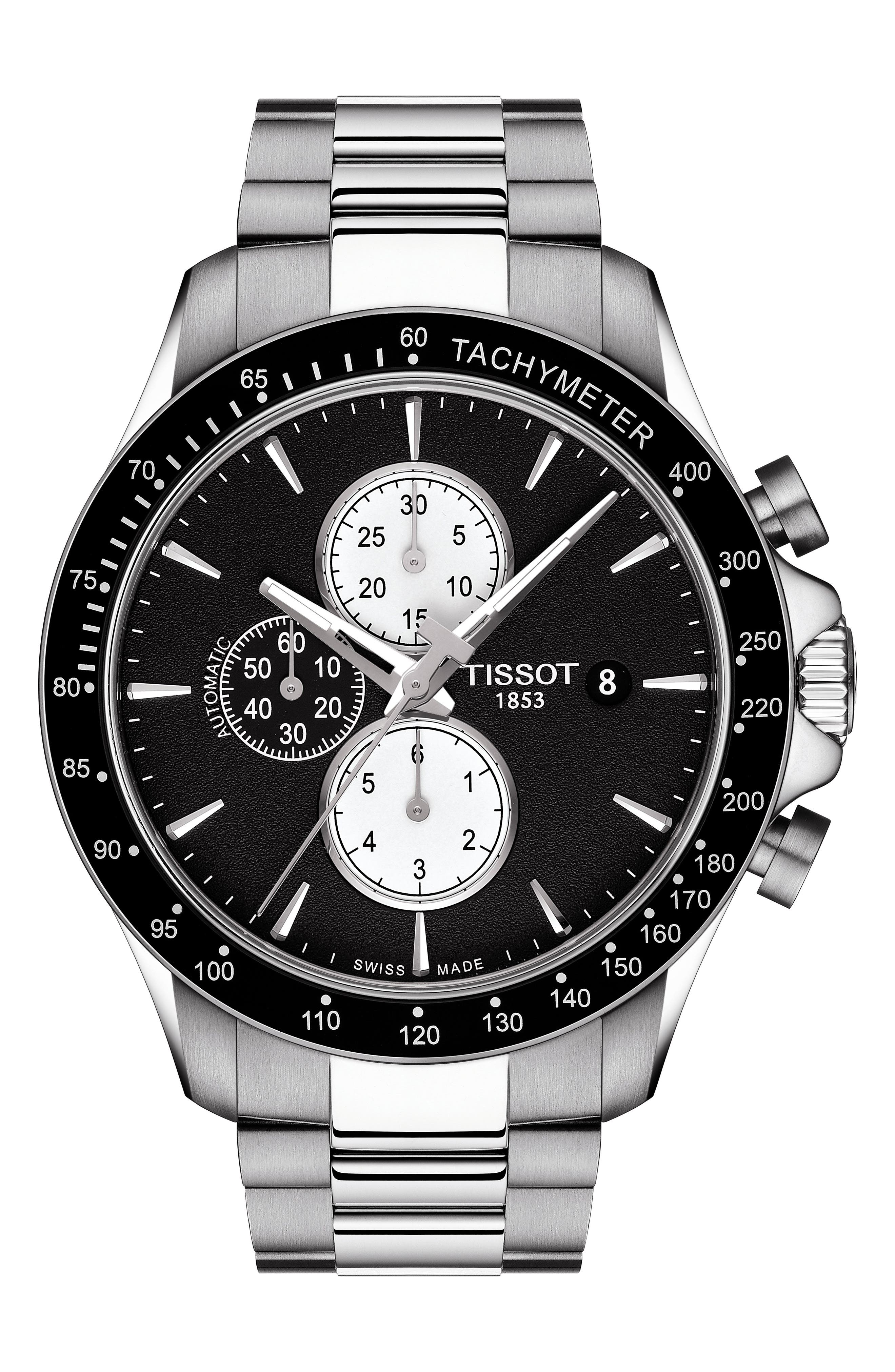 V8 Automatic Chronograph Bracelet Watch, 45mm,                         Main,                         color, SILVER/ BLACK/ SILVER