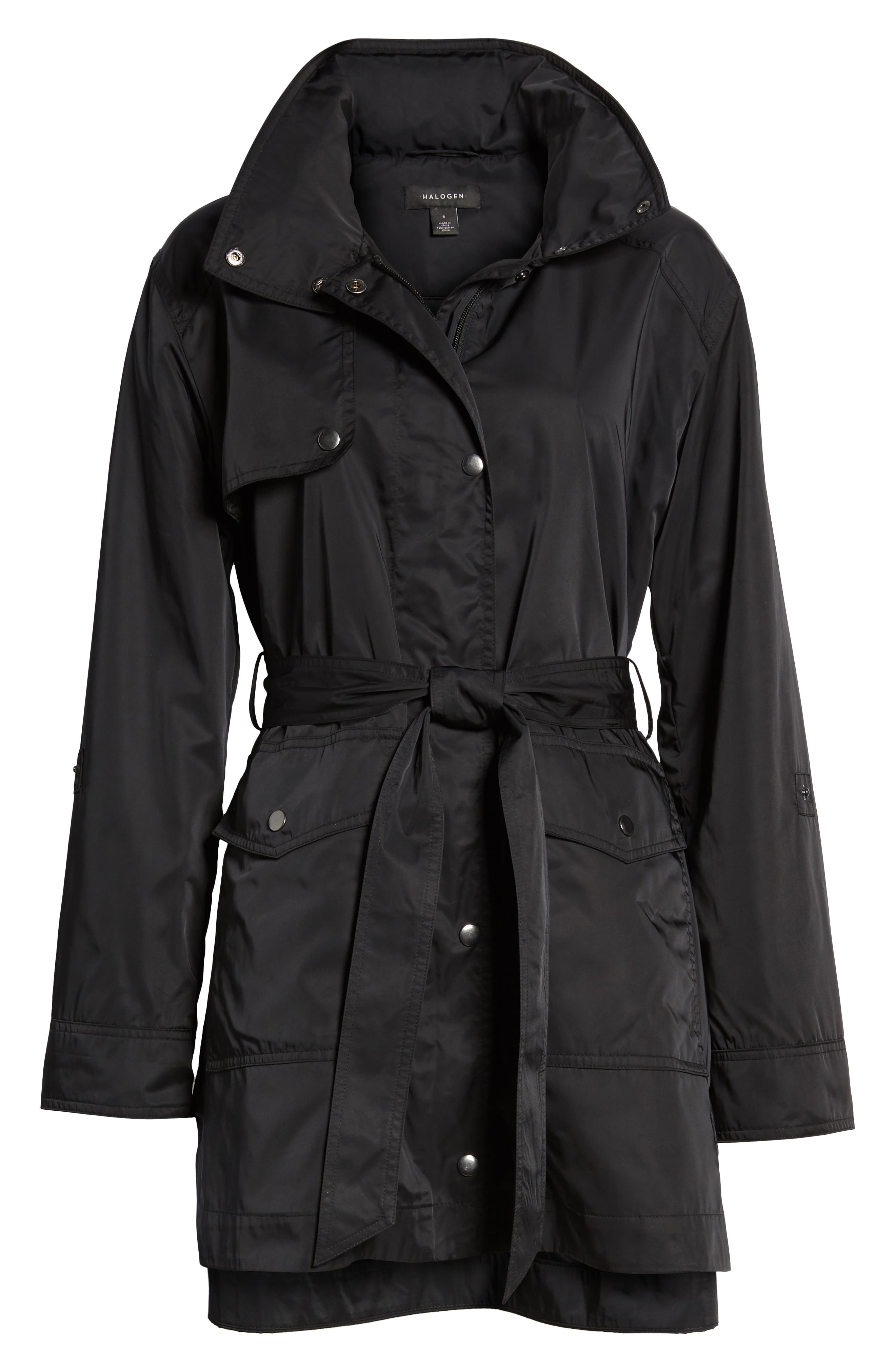 HALOGEN<SUP>®</SUP>,                             Lightweight Trench Coat,                             Alternate thumbnail 6, color,                             BLACK