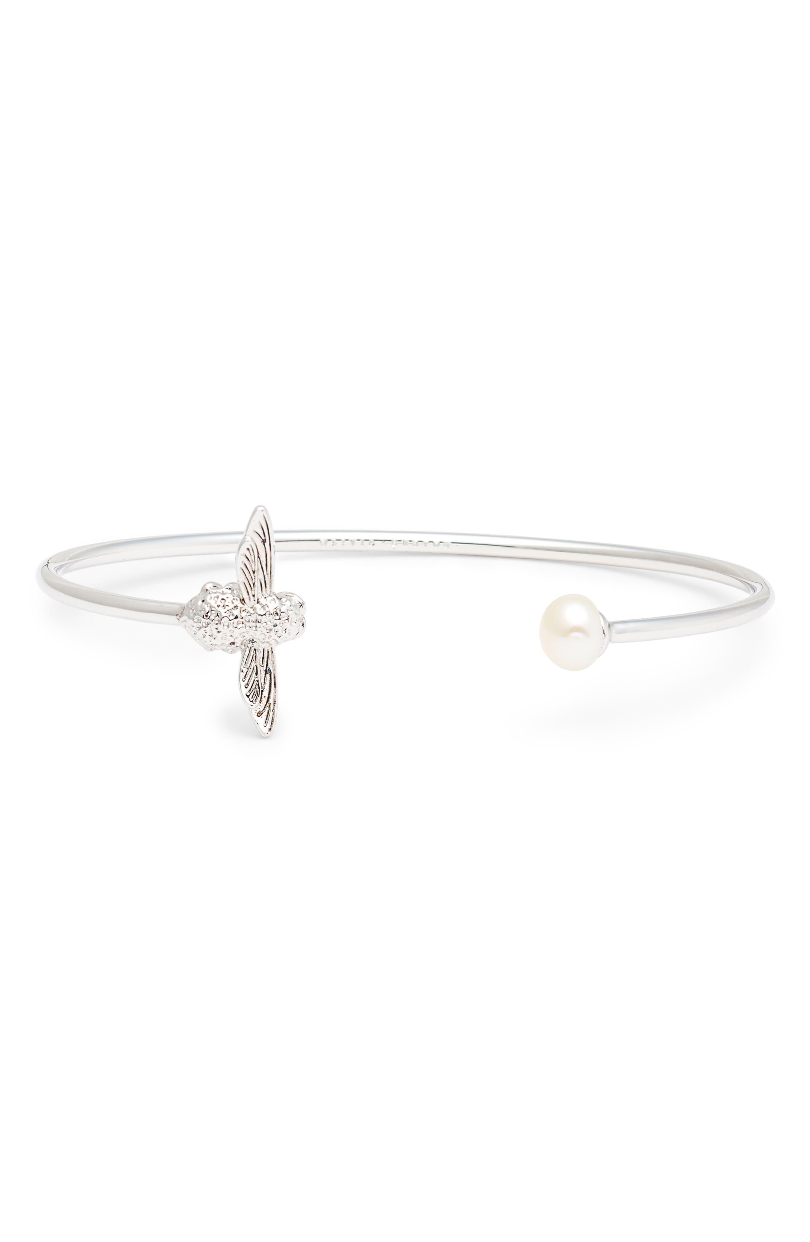 Pearl Bee Bangle Bracelet,                         Main,                         color, SILVER