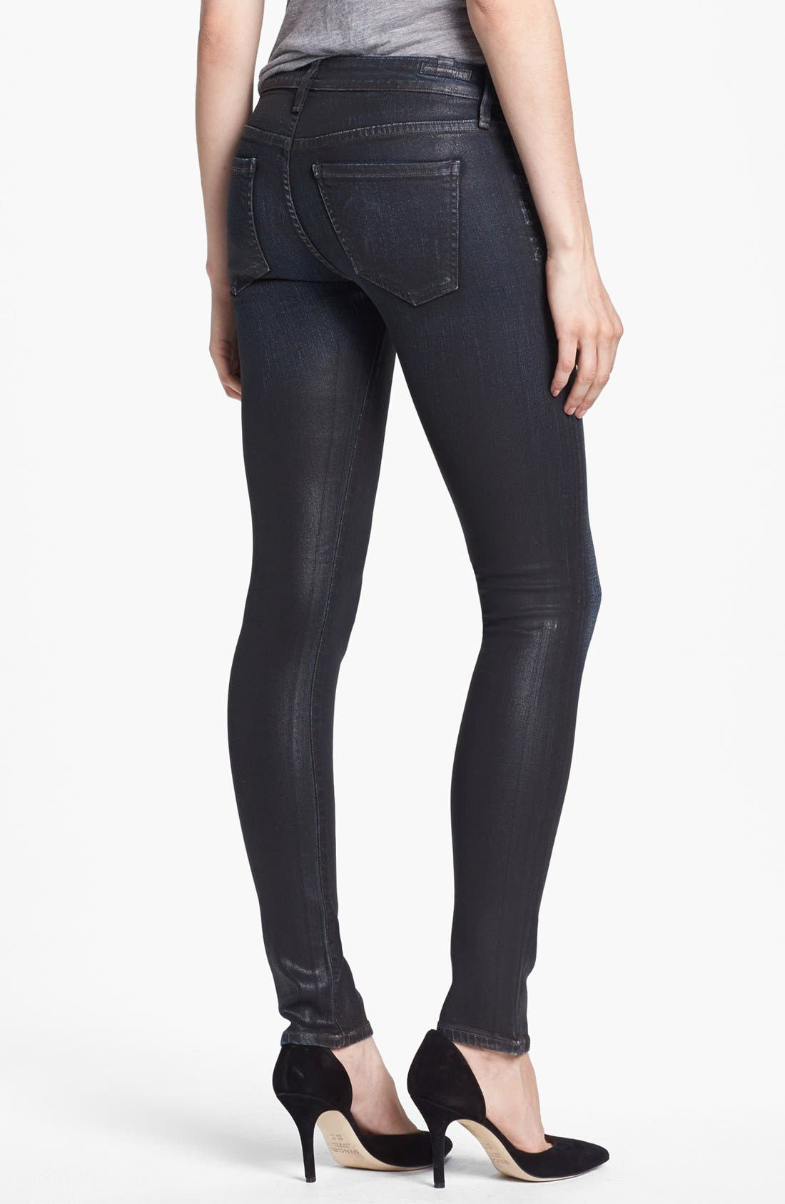 'Racer' Coated Skinny Jeans,                             Alternate thumbnail 3, color,                             483