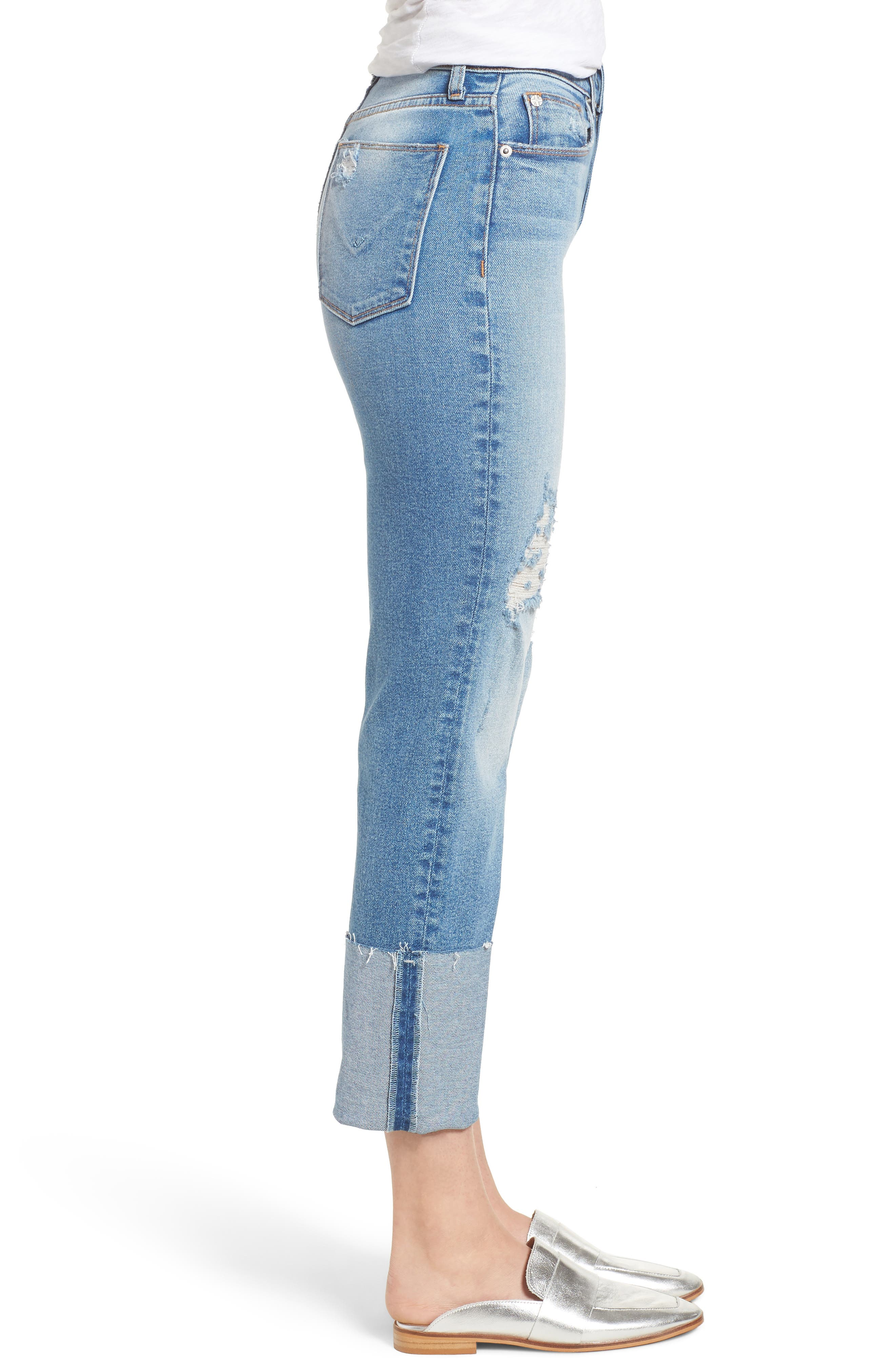 Zoeey High Waist Cuff Straight Leg Jeans,                             Alternate thumbnail 3, color,                             425