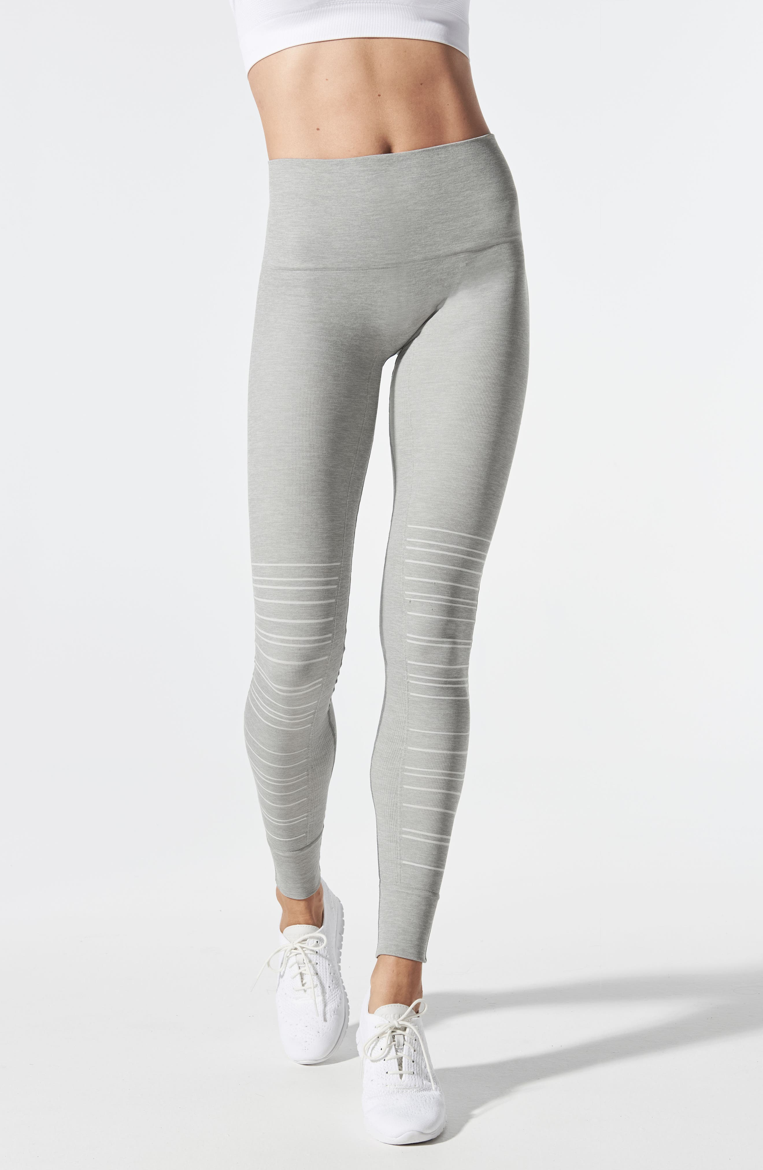 SportSupport<sup>®</sup> Hipster Cuffed Support Maternity/Postpartum Leggings,                             Alternate thumbnail 4, color,                             DOVE GREY