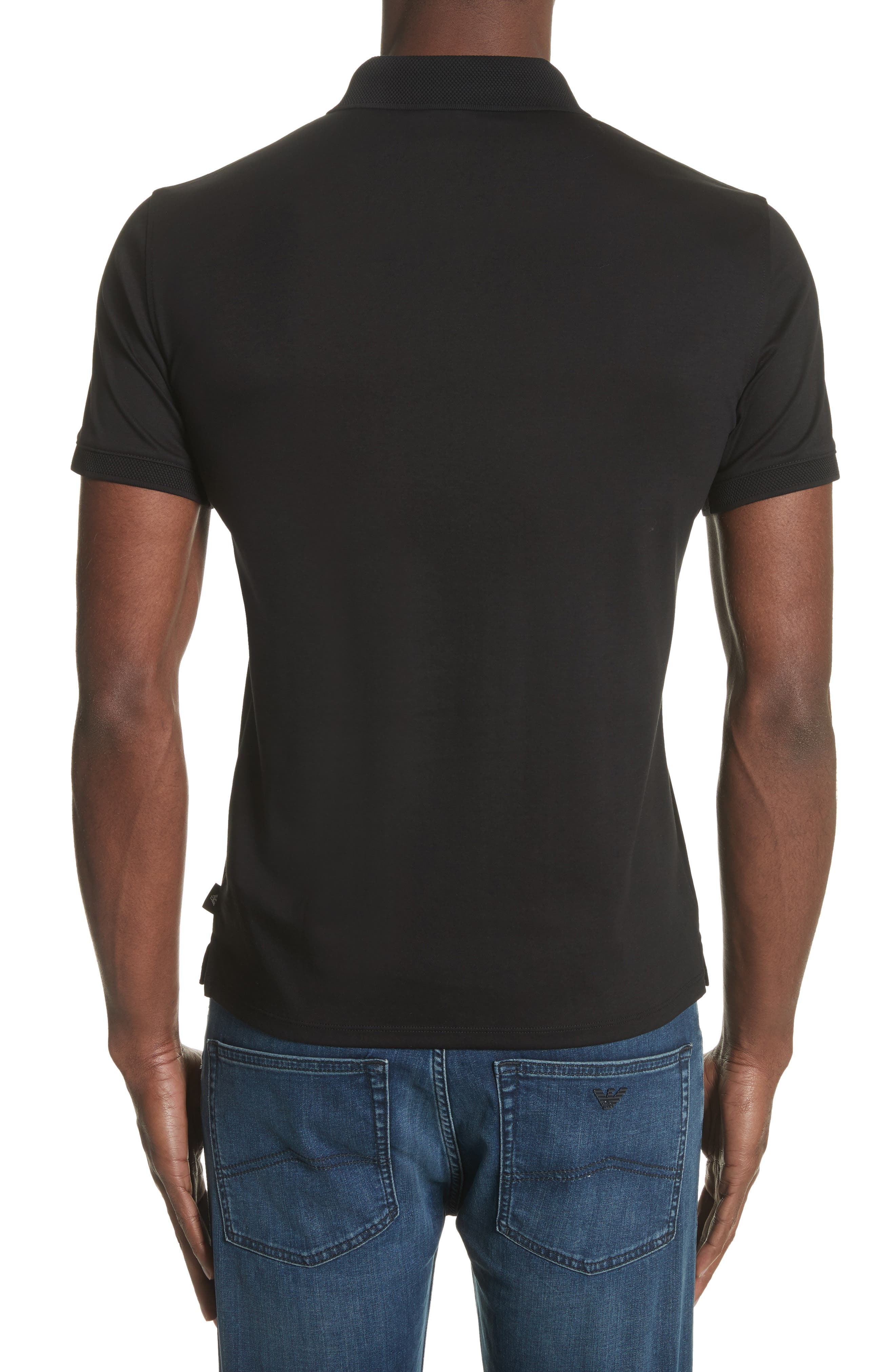 Slim Fit Polo,                             Alternate thumbnail 2, color,                             SOLID BLACK