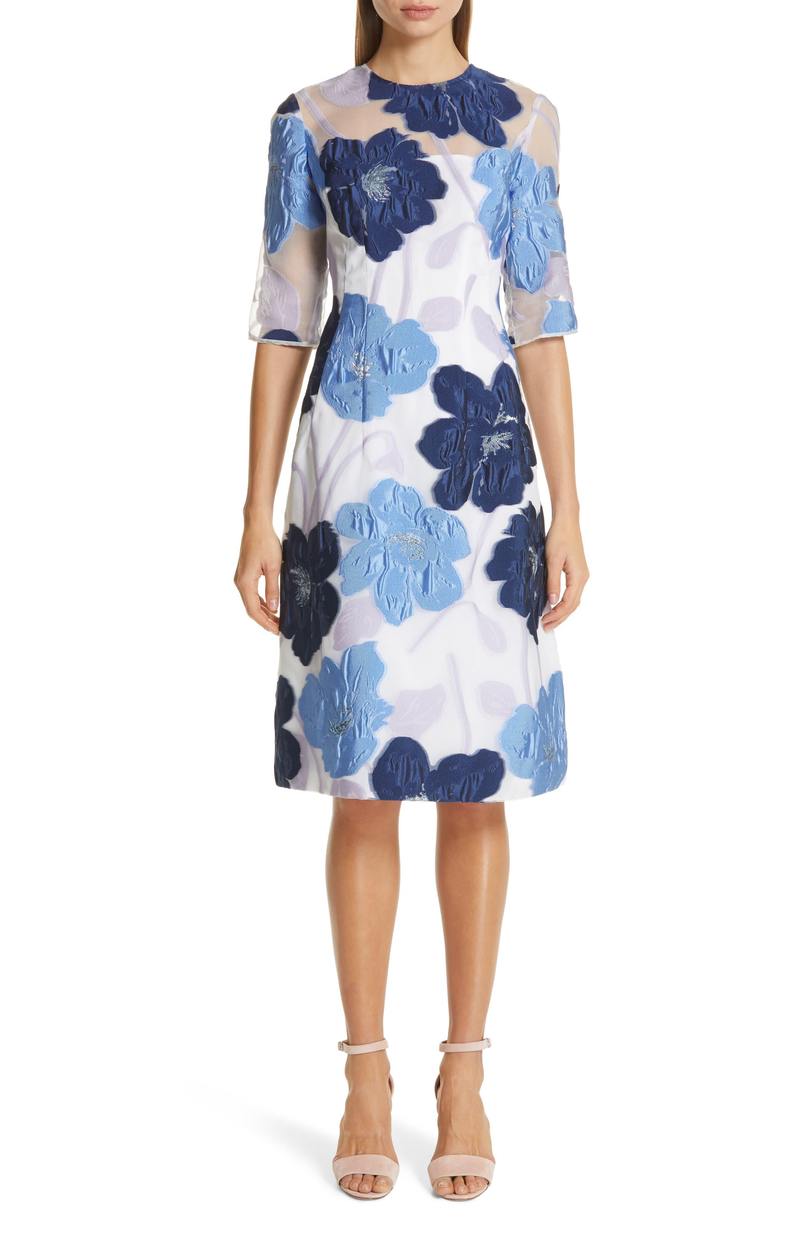 Lela Rose Oversize Floral Fil Coupe A-Line Dress, Blue