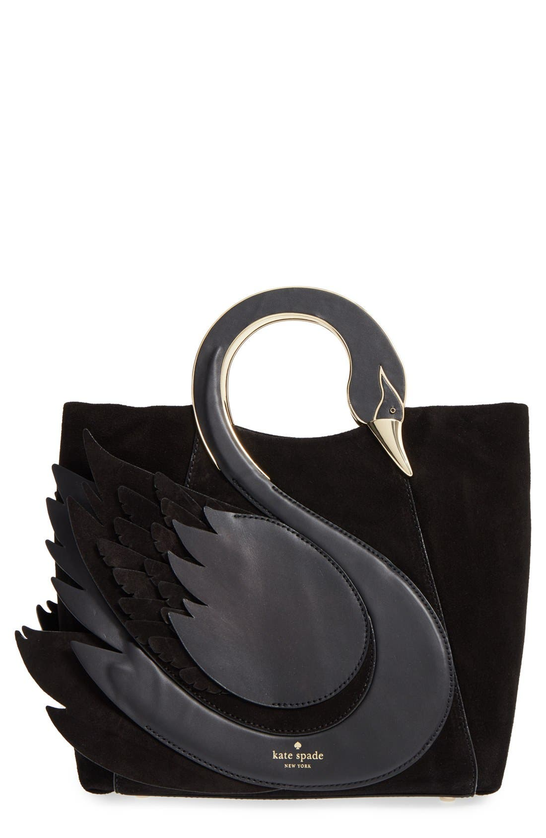 'on pointe - swan' suede & leather handbag,                             Main thumbnail 1, color,                             001