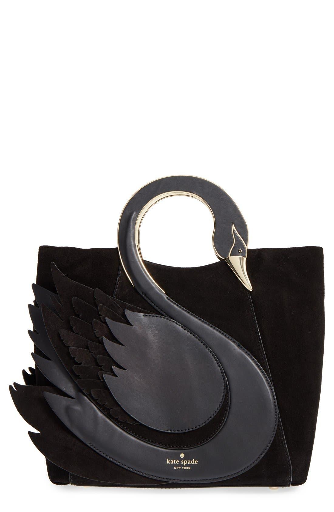 'on pointe - swan' suede & leather handbag, Main, color, 001