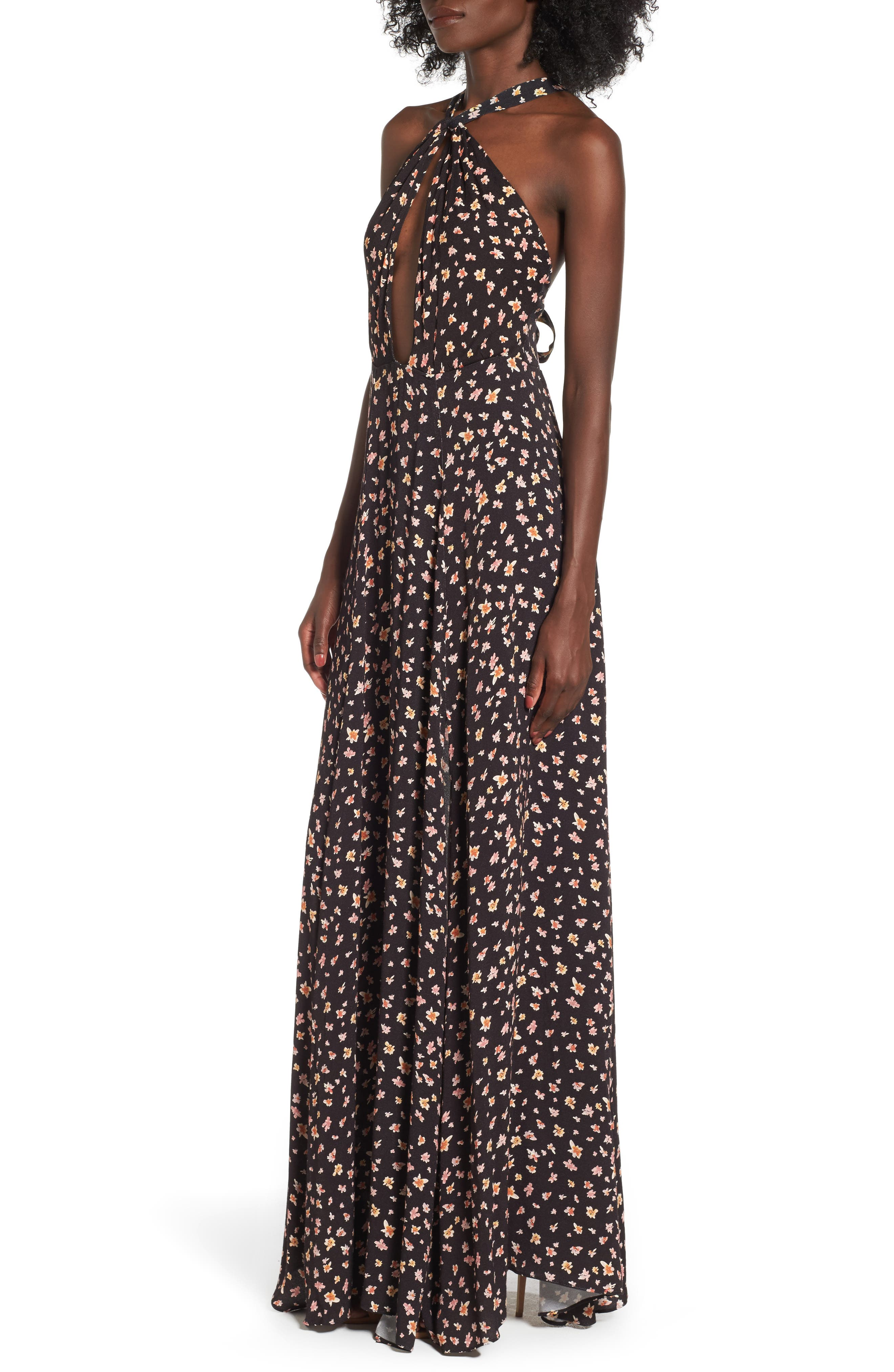 Harlean Halter Maxi Dress,                             Alternate thumbnail 3, color,                             010