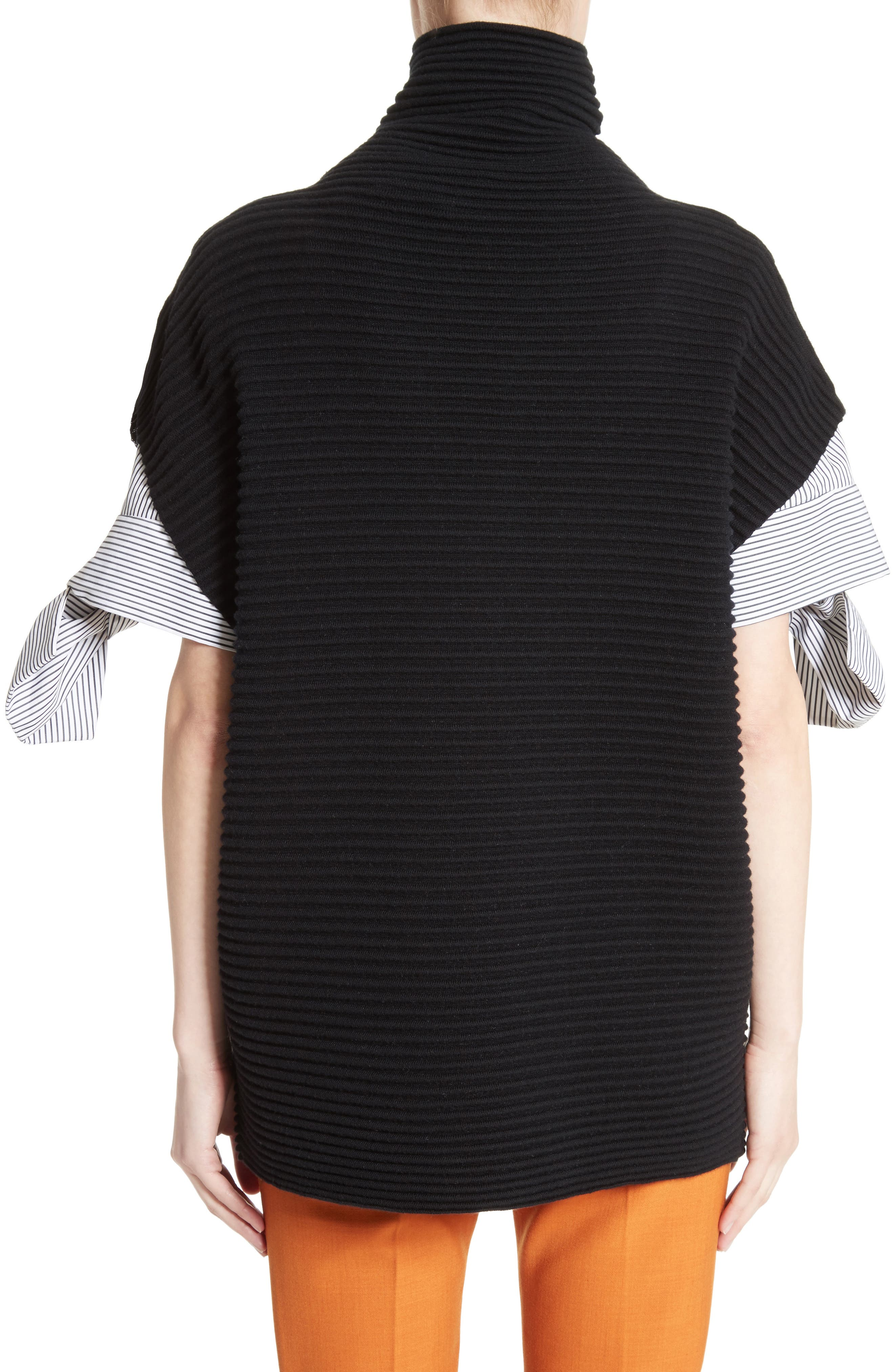 Bow Sleeve Funnel Neck Sweater,                             Alternate thumbnail 2, color,                             001