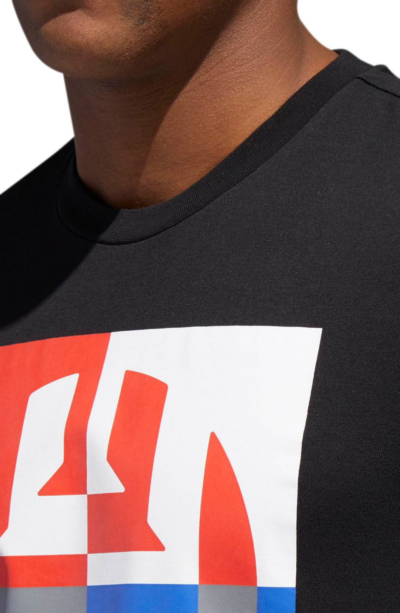 Harden Logo T-Shirt,                             Alternate thumbnail 4, color,                             BLACK