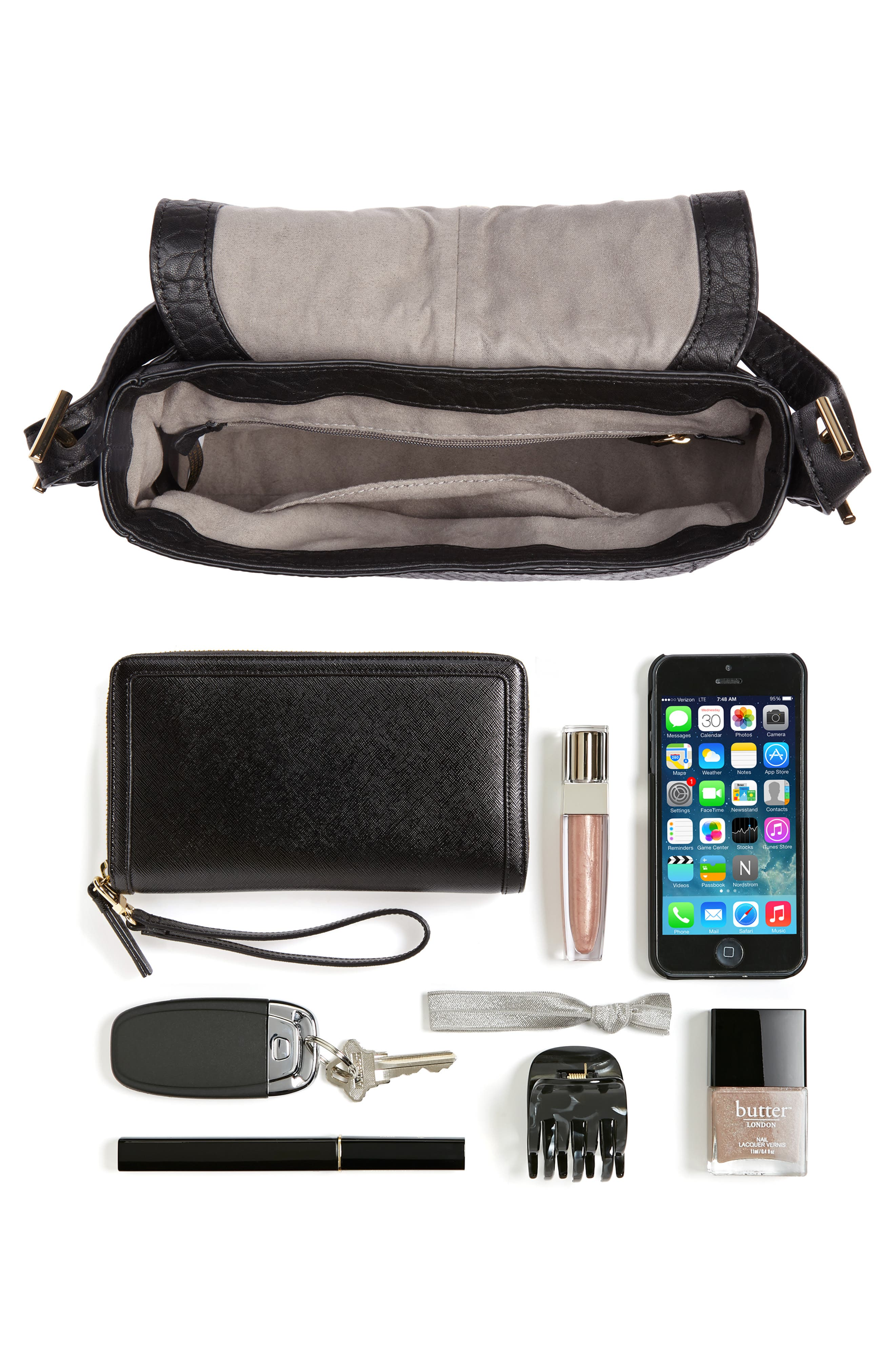 Fava Leather Crossbody Bag,                             Alternate thumbnail 7, color,                             001