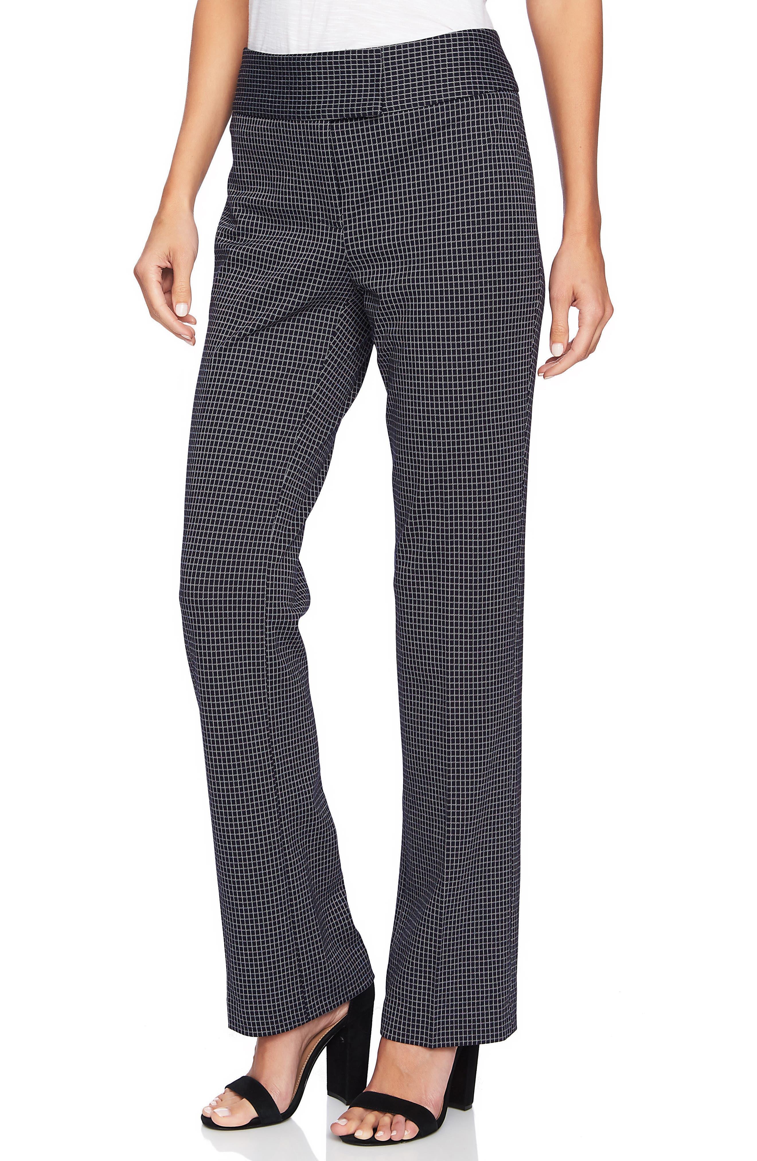 Mini Windowpane Plaid Pants,                         Main,                         color, CAVIAR