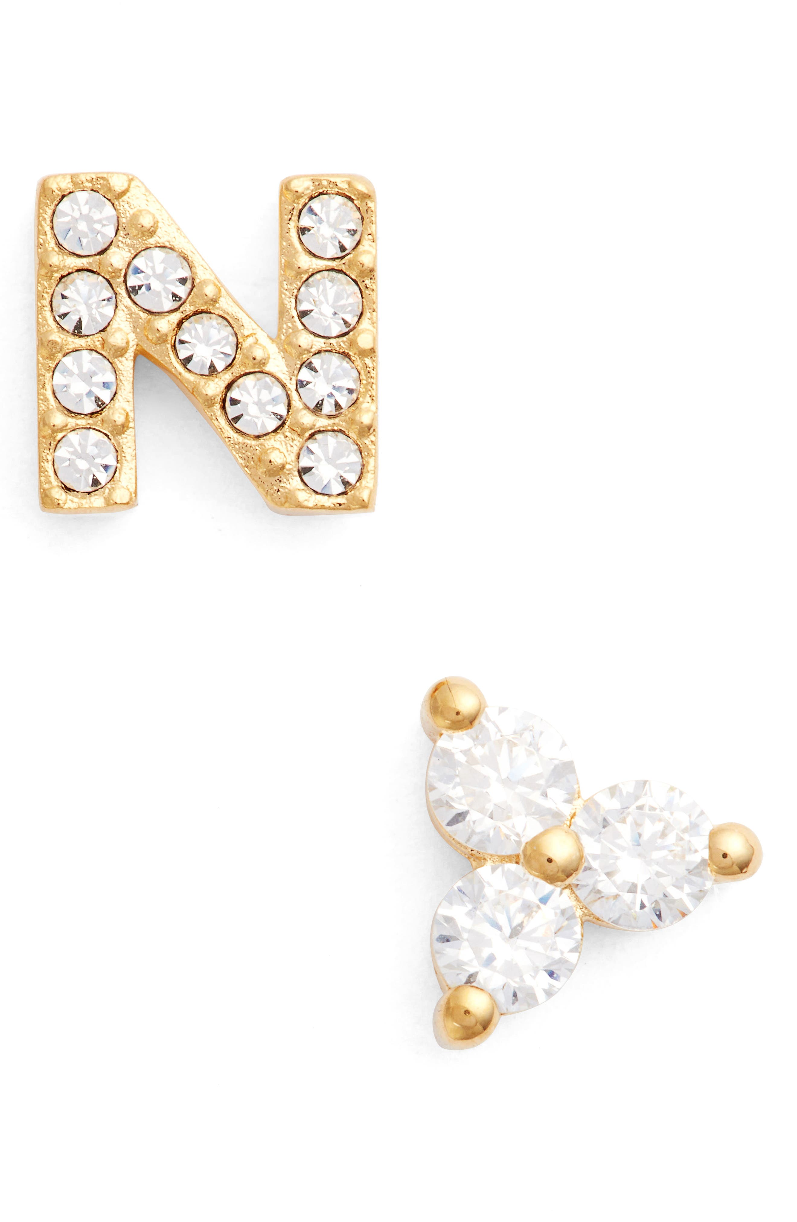 Initial Mismatched Stud Earrings,                         Main,                         color, GOLD - N