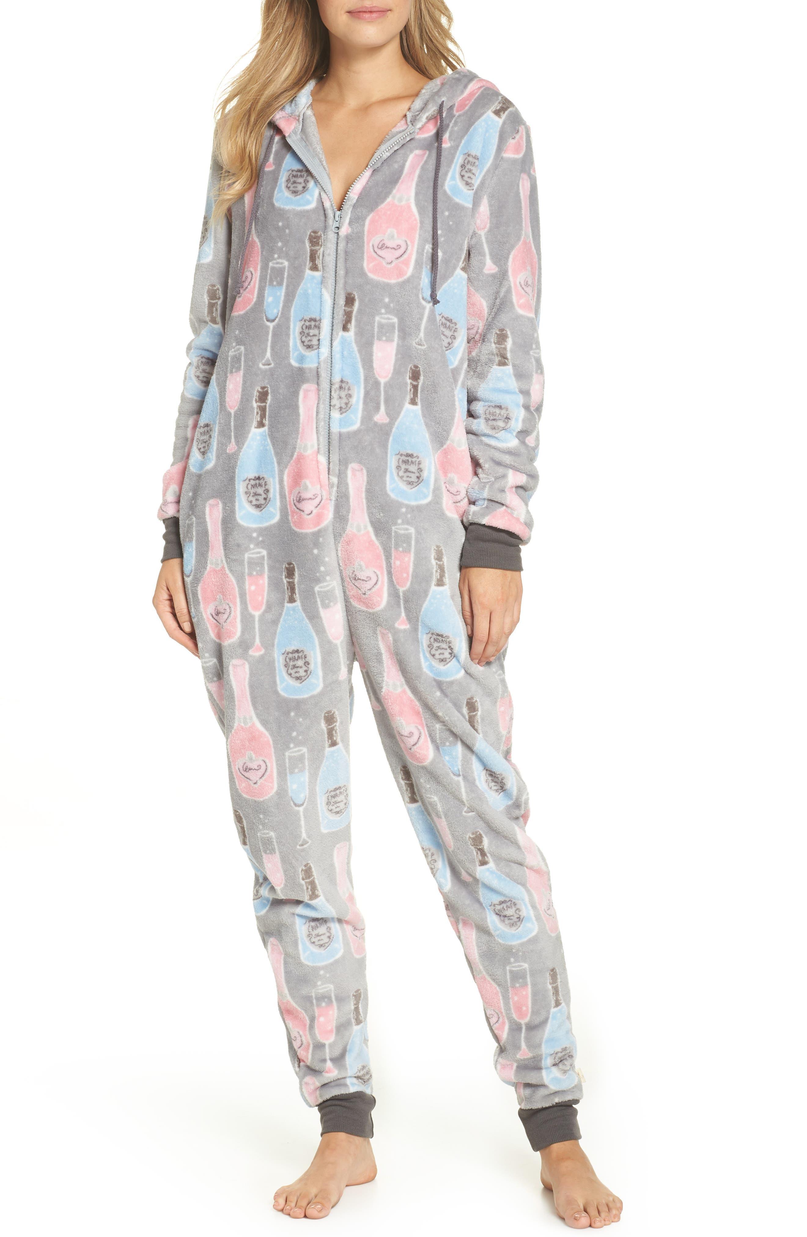Munki Munki Plush Union Suit One-Piece Pajamas, Grey