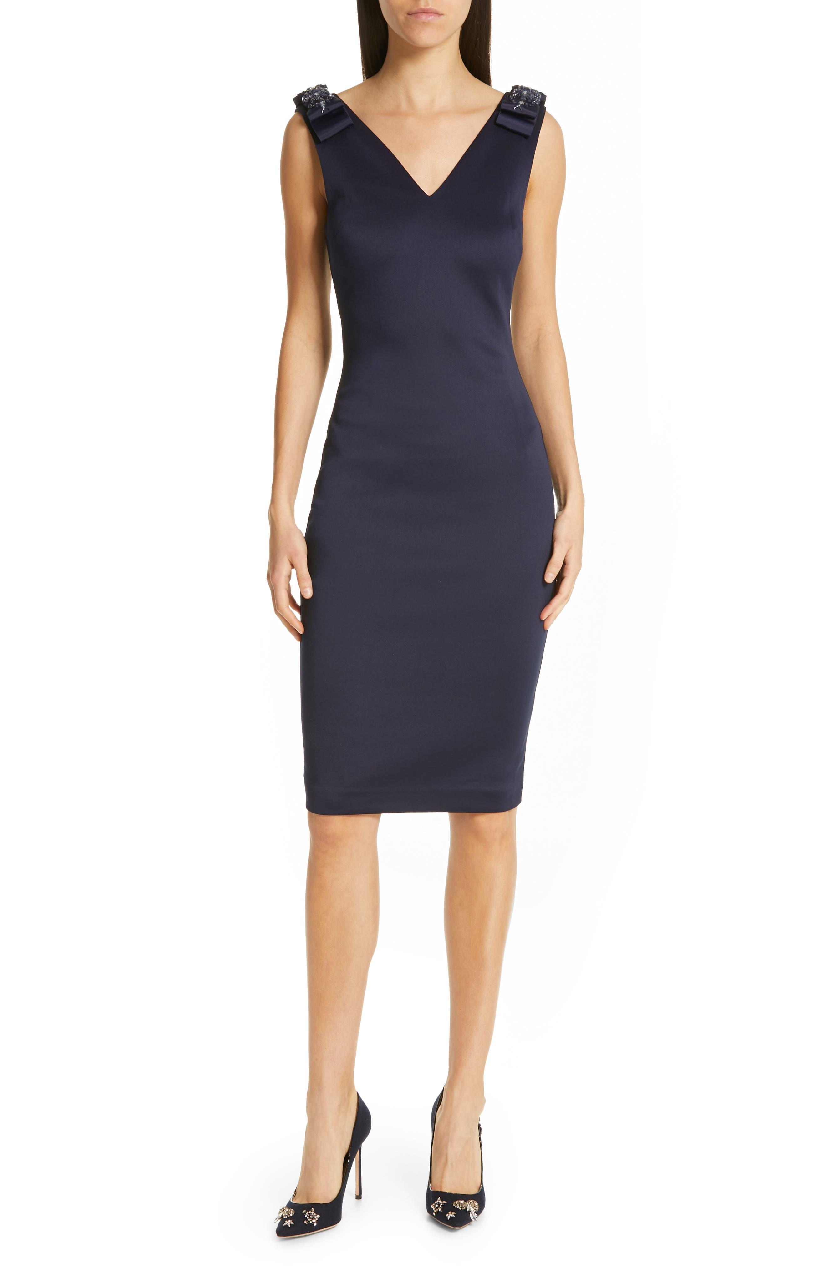 Ted Baker London Belliah Bow Shoulder Body-Con Dress, Blue