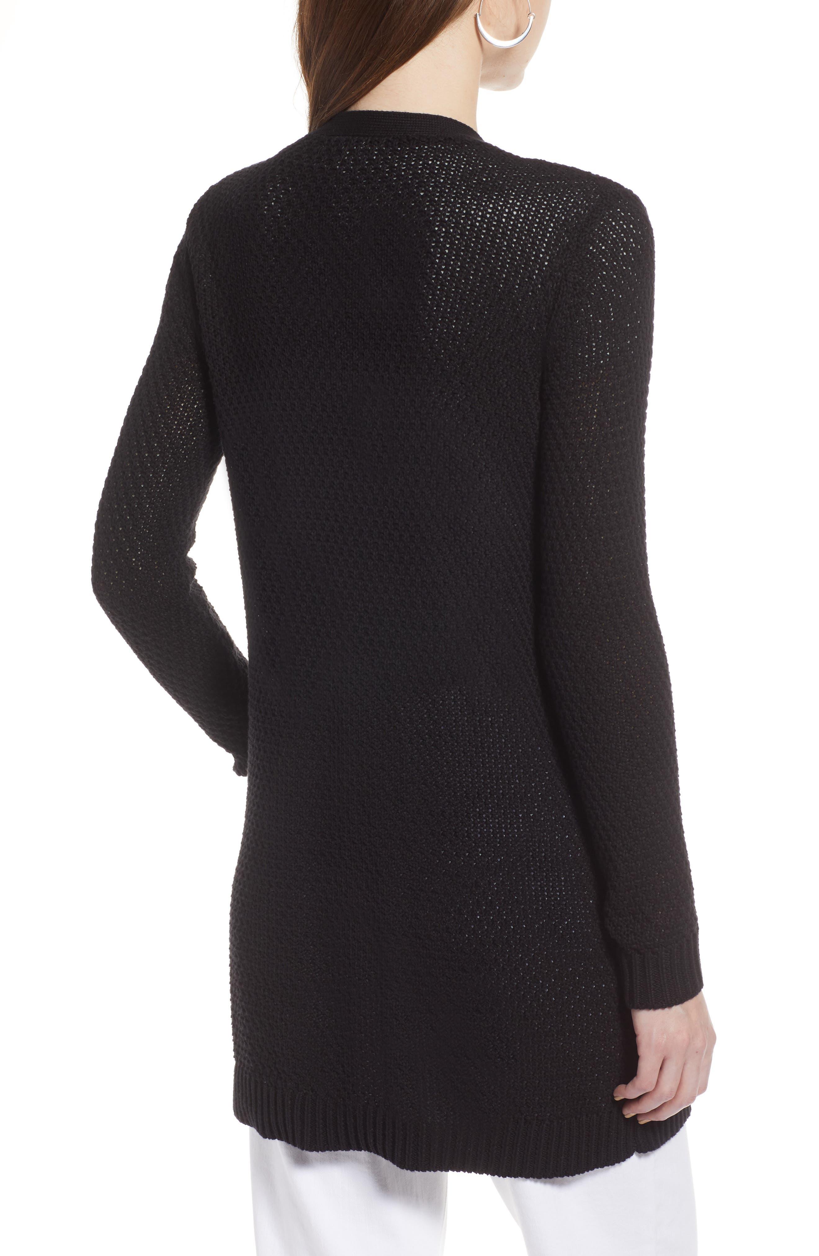 Textured Cotton Knit Cardigan,                             Alternate thumbnail 2, color,                             001