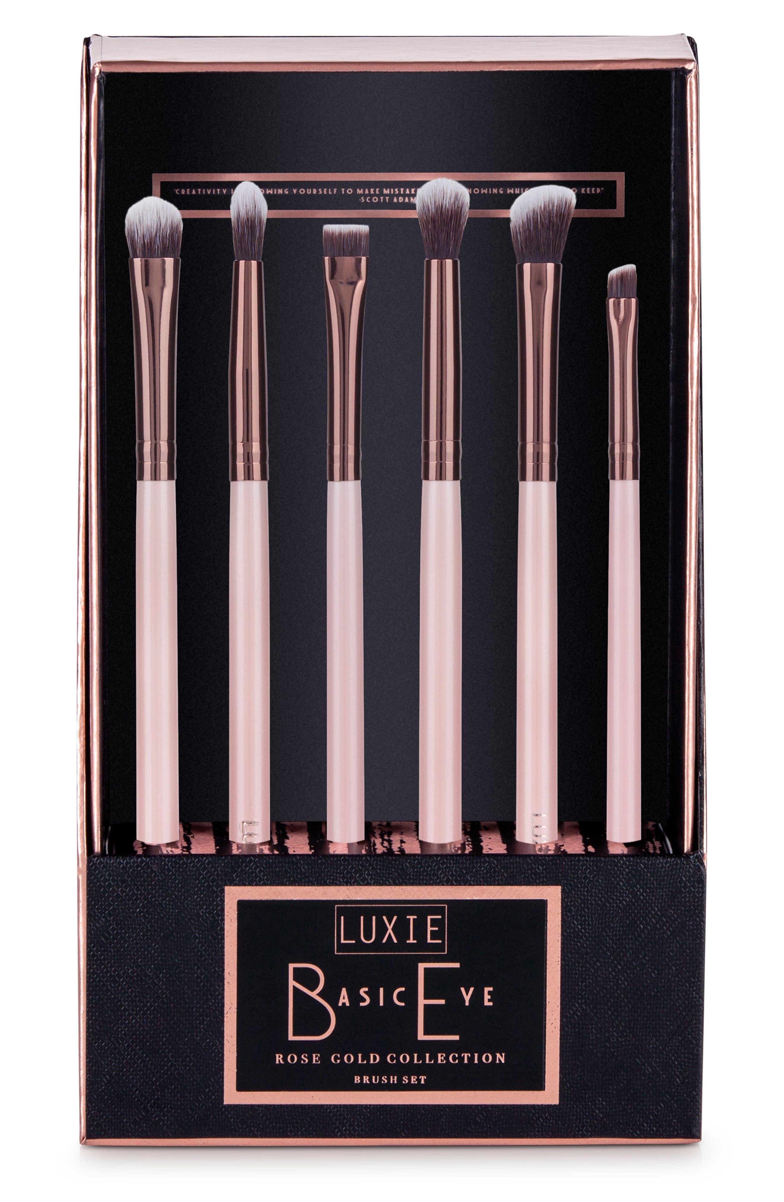 Rose Gold Basic Eye Brush Set,                             Alternate thumbnail 3, color,                             000