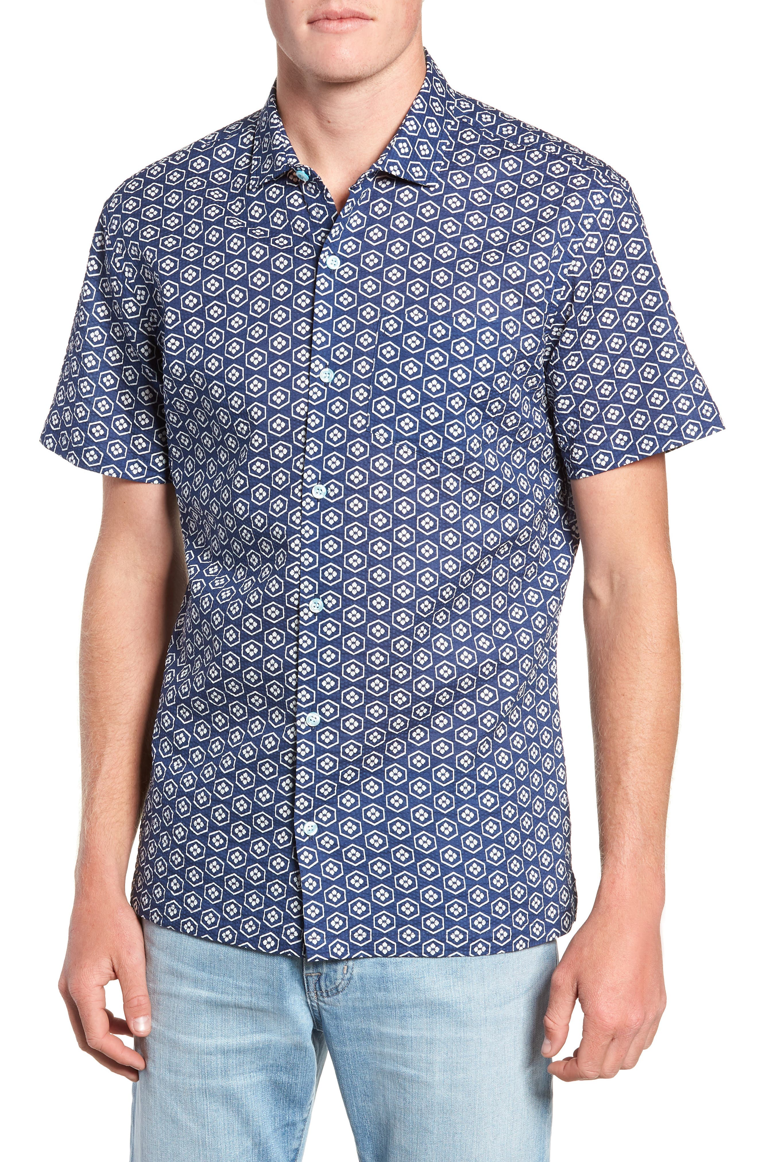 Regular Fit Print Sport Shirt,                         Main,                         color, NAVY