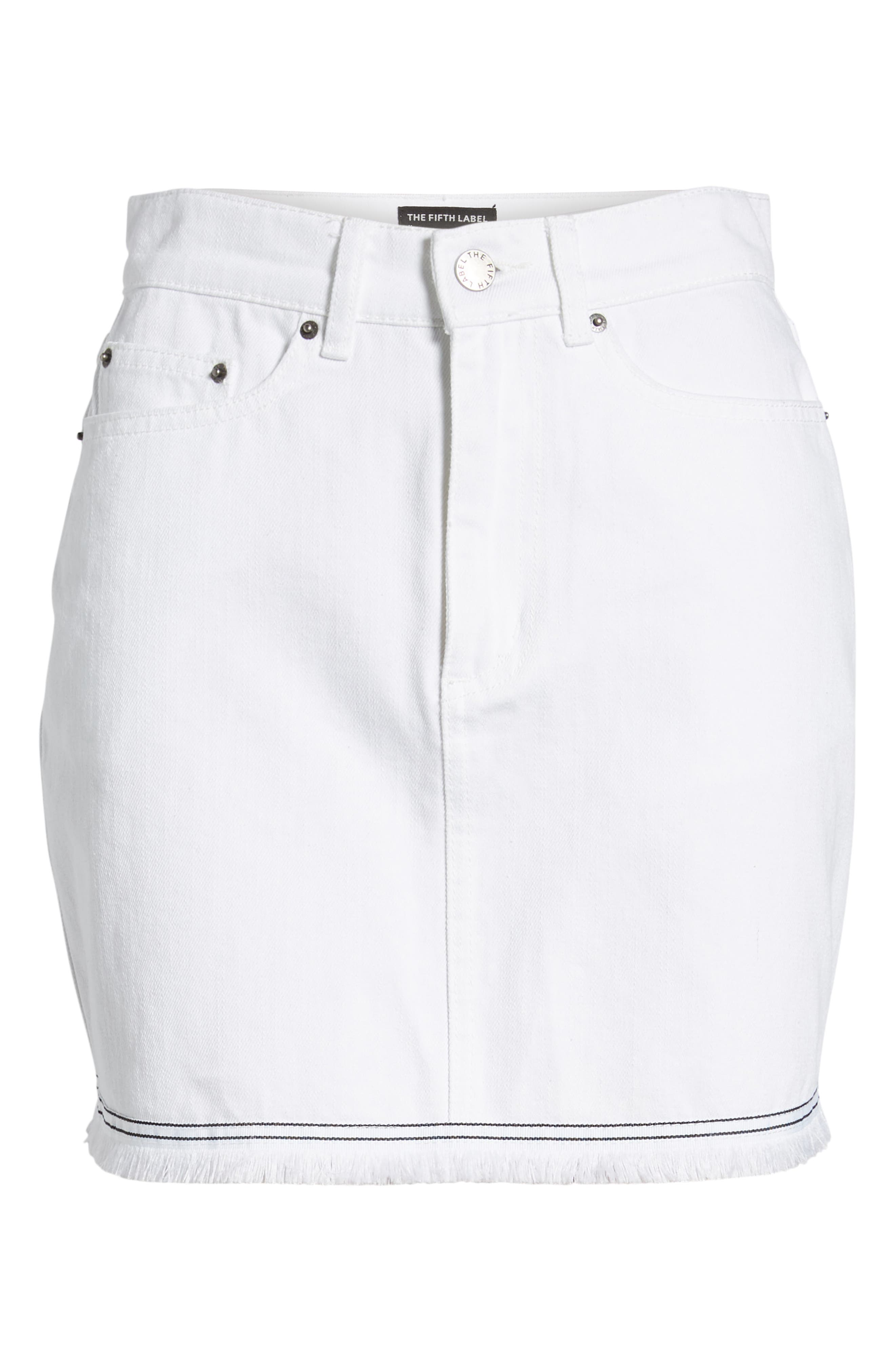 THE FIFTH LABEL,                             Social Fray Hem Denim Miniskirt,                             Alternate thumbnail 7, color,                             100