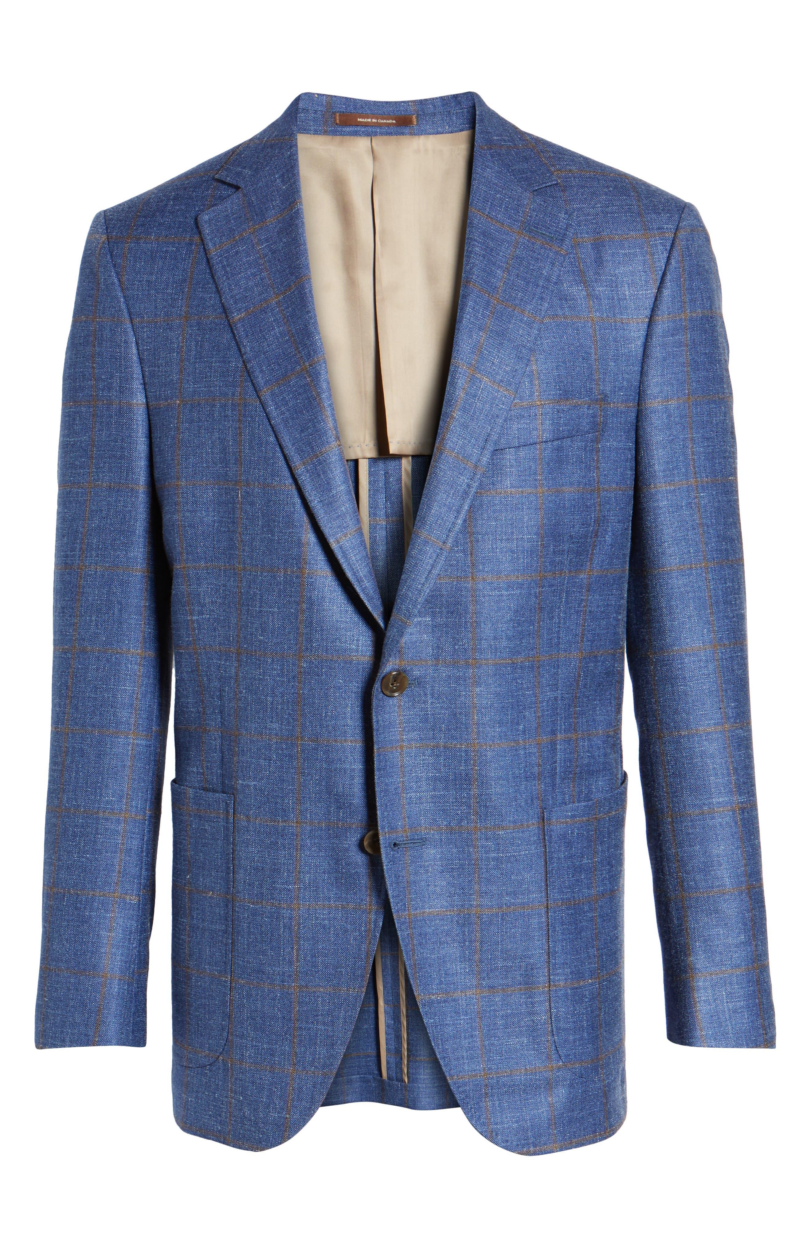 Classic Fit Windowpane Wool Blend Sport Coat,                             Alternate thumbnail 5, color,