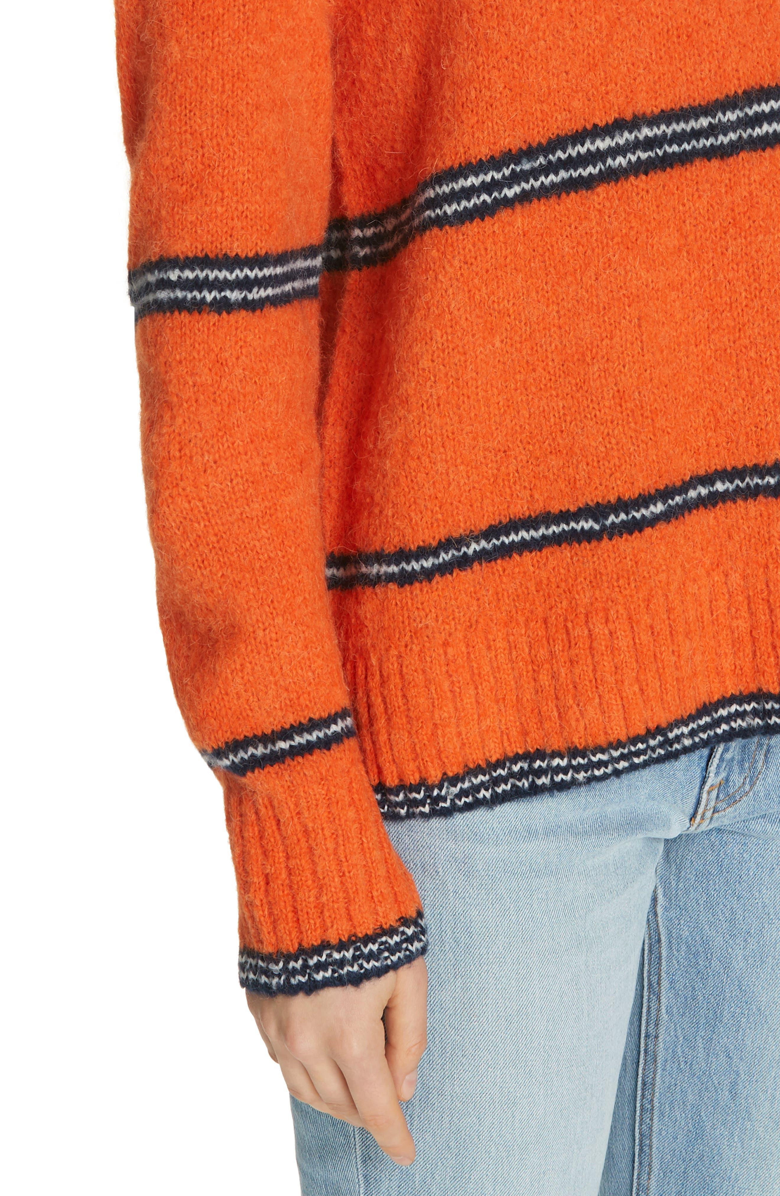 FRAME,                             Stripe Sweater,                             Alternate thumbnail 4, color,                             PERSIMMON MULTI