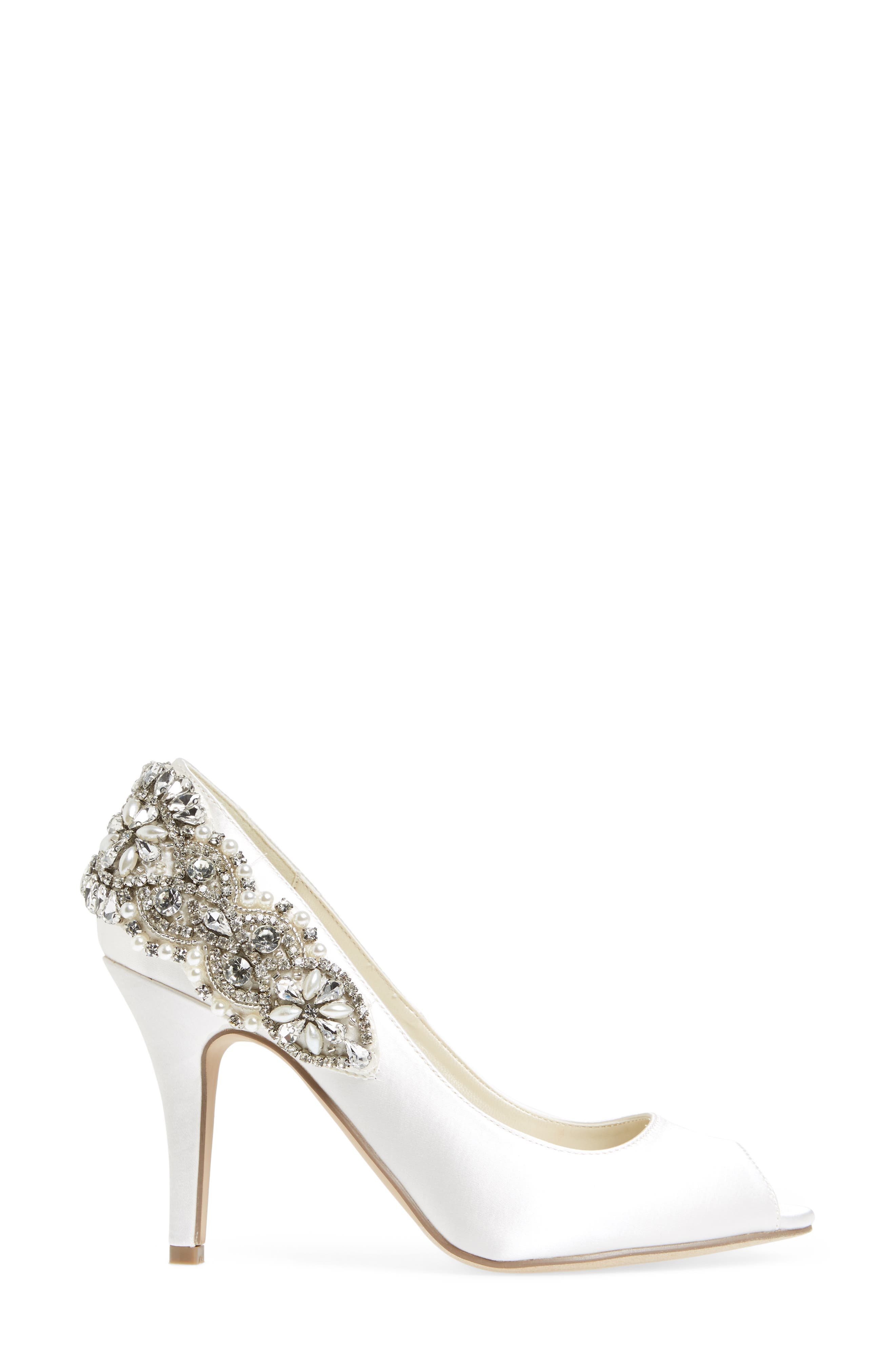 Cynthia Embellished Pump,                             Alternate thumbnail 3, color,                             IVORY SATIN