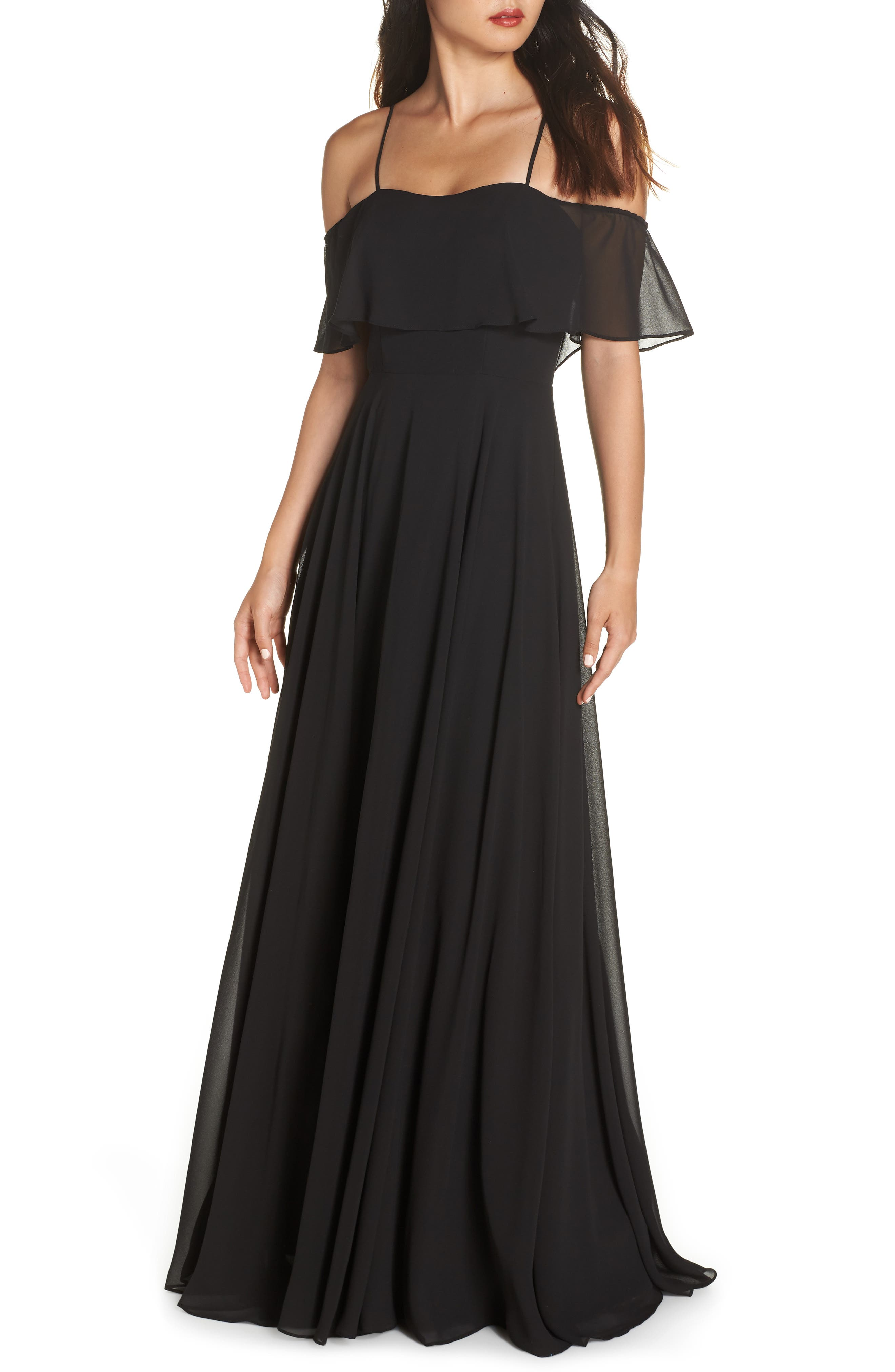 Hayley Paige Occasions Chiffon Cold Shoulder Gown