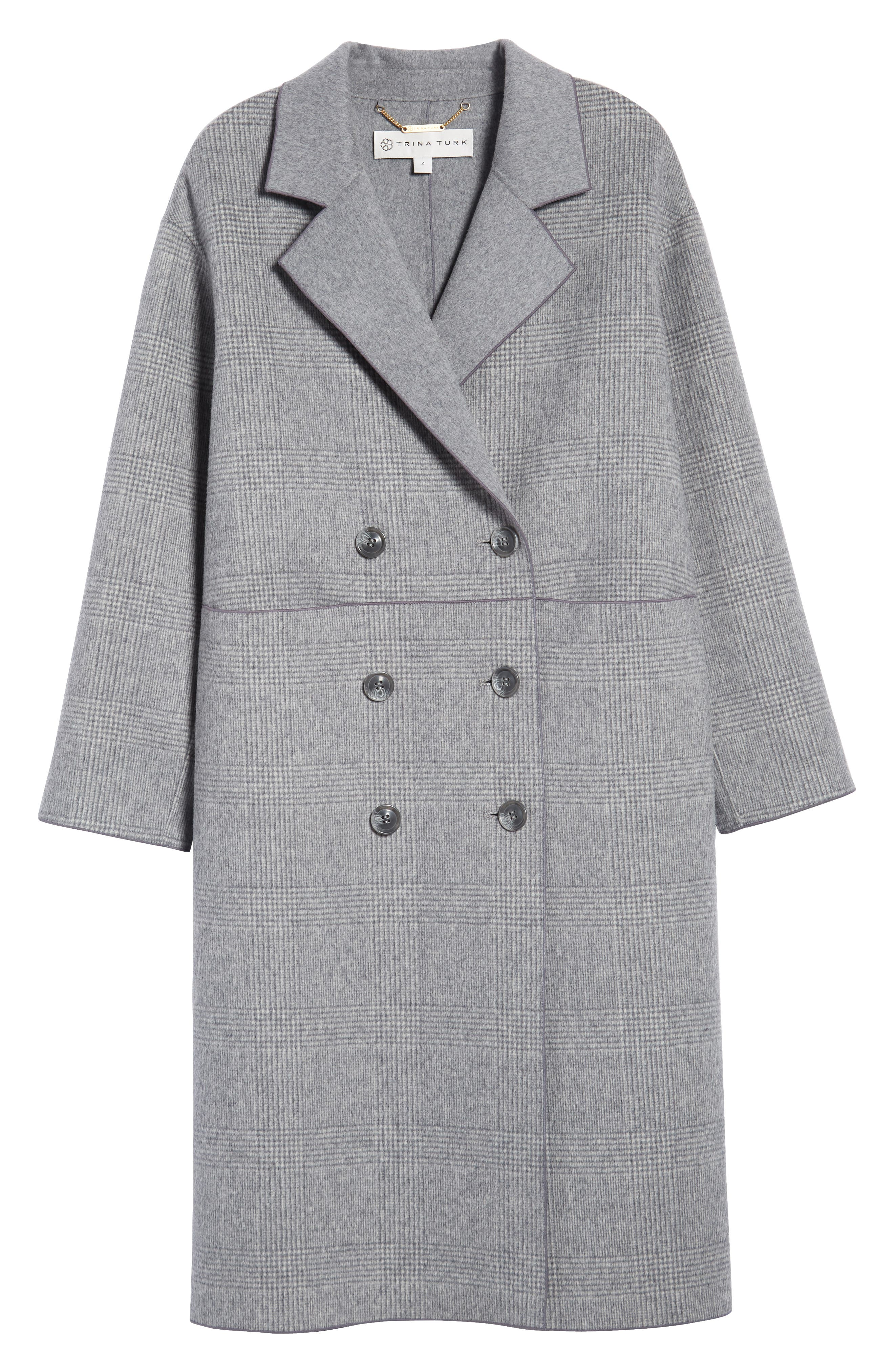 Amy Double Breasted Wool Coat,                             Alternate thumbnail 6, color,                             GREY PLAID