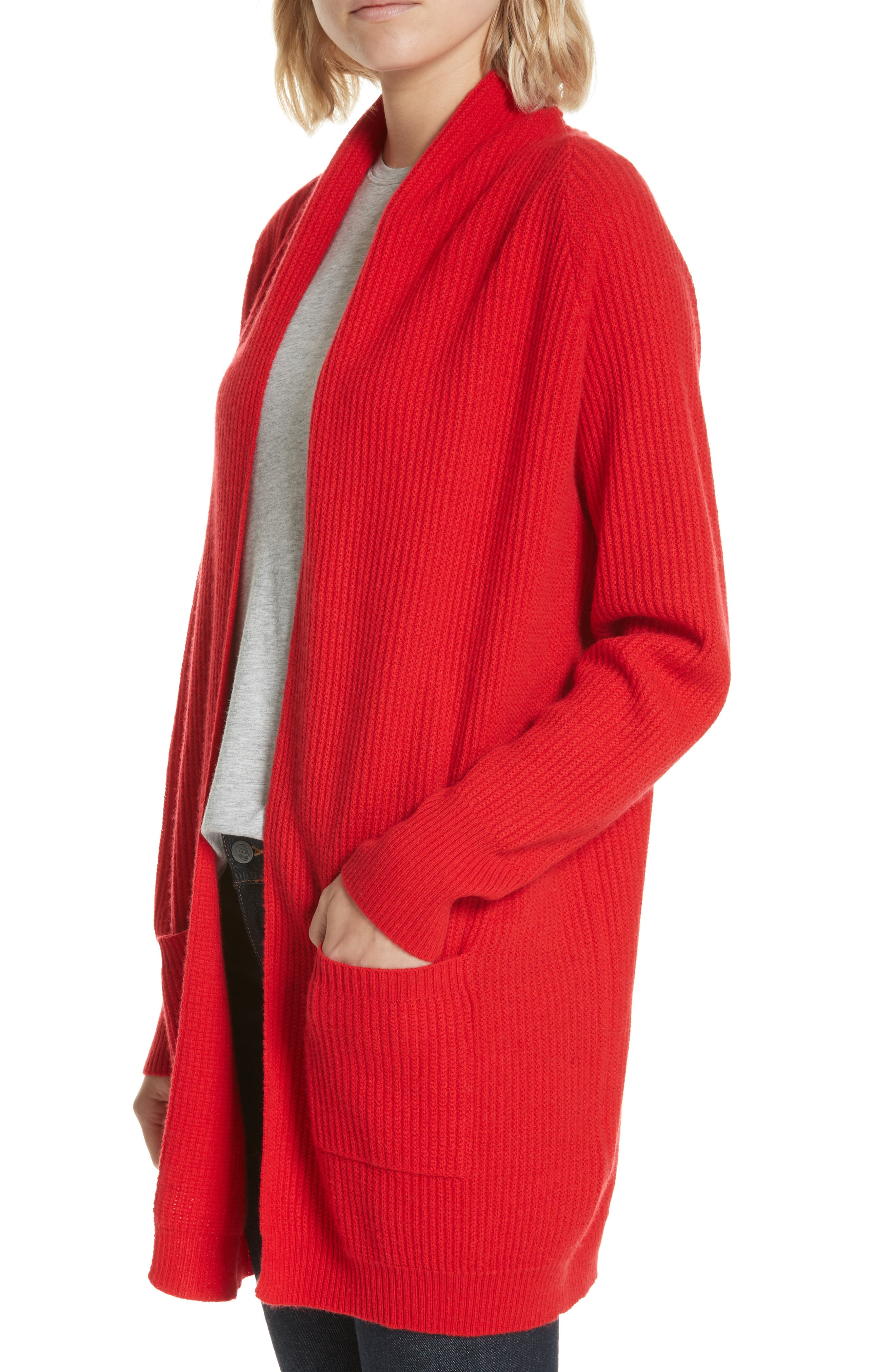Cashmere Cardigan,                             Alternate thumbnail 4, color,                             RED
