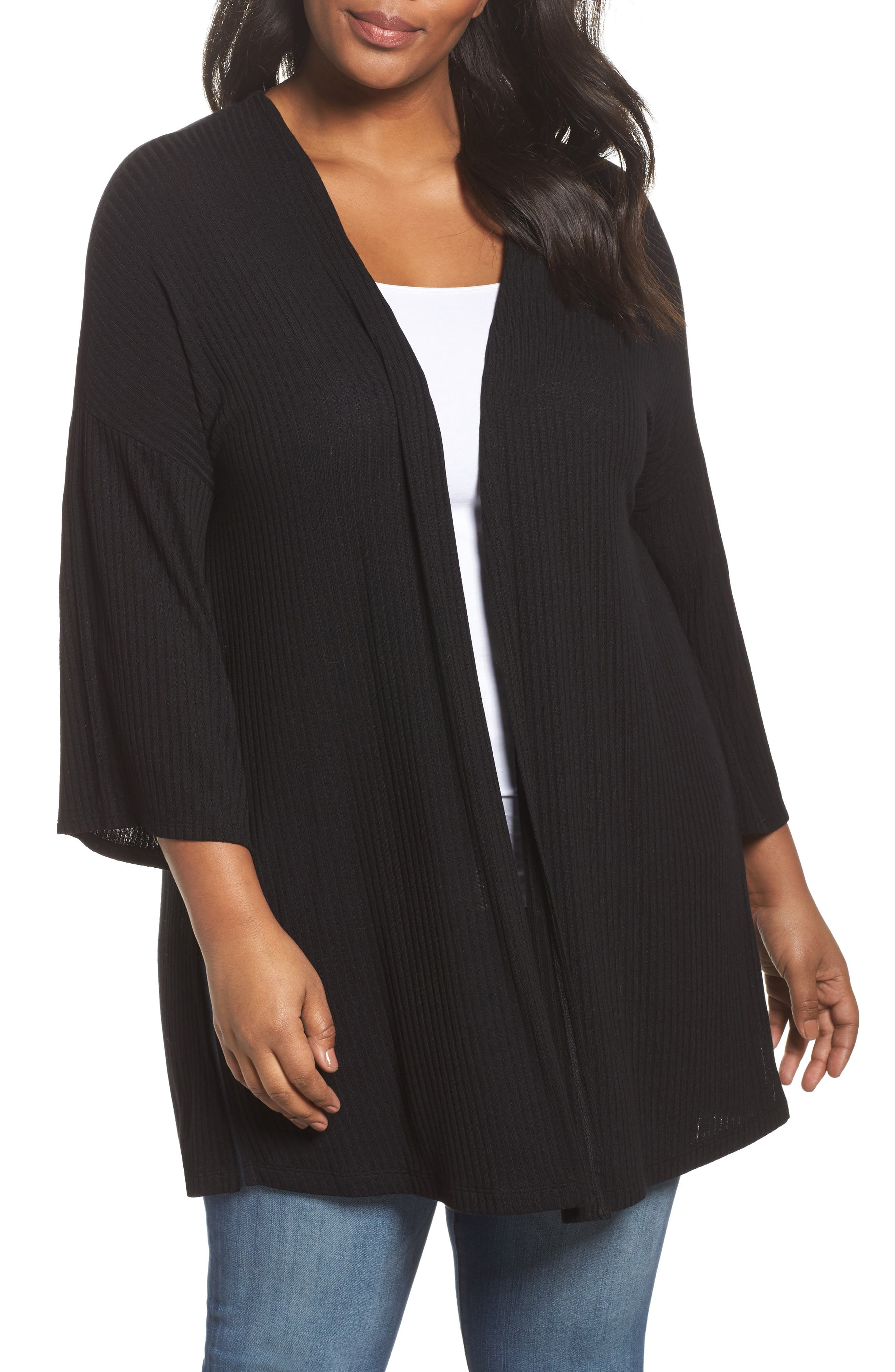 Ribbed Open-Front Cardigan,                             Main thumbnail 1, color,                             001