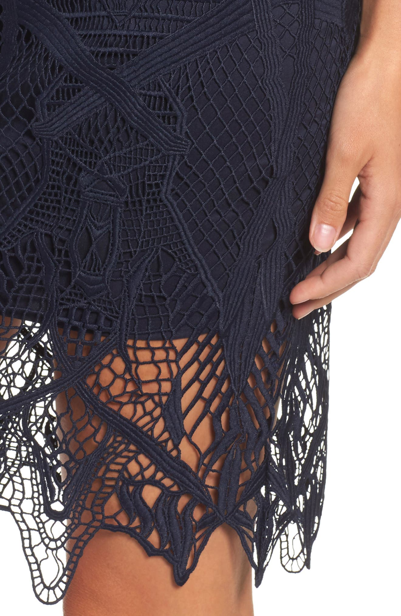 Illusion Lace Sheath Dress,                             Alternate thumbnail 4, color,                             417