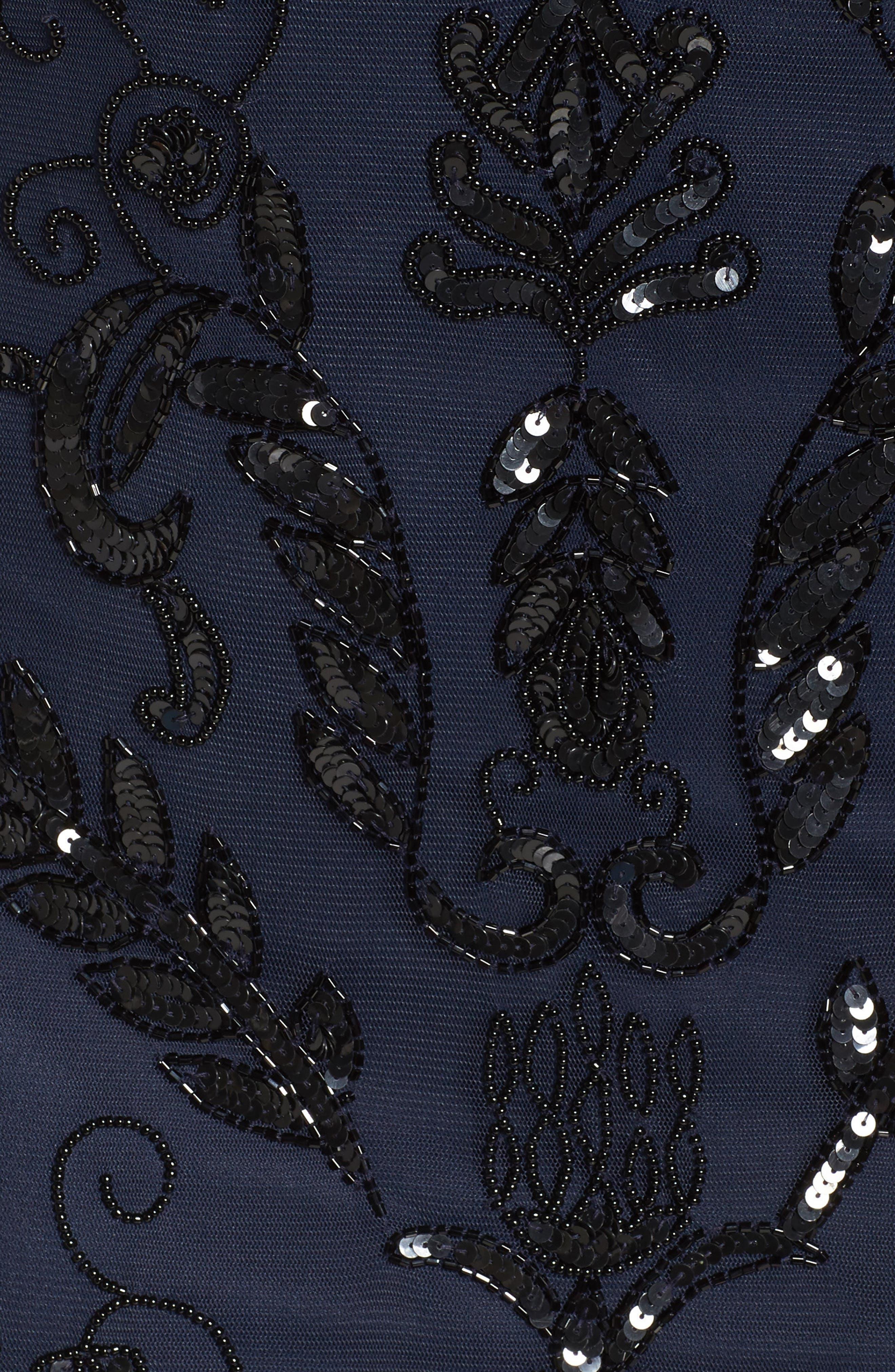 Embellished Tea Length Sheath Dress,                             Alternate thumbnail 5, color,                             415