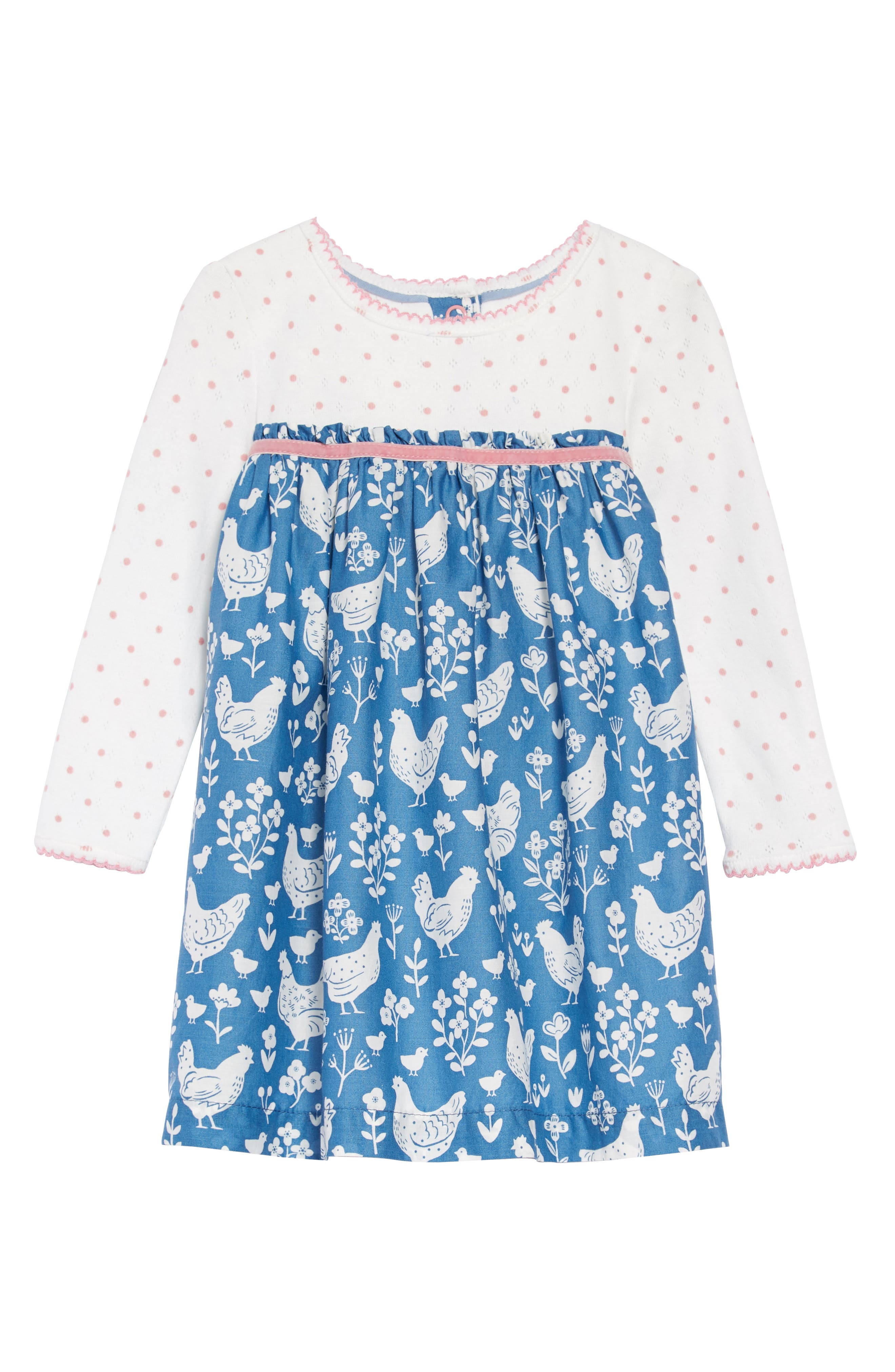 Pointelle & Woven Dress,                         Main,                         color, AZURE/ FARMYARD/ TOILE