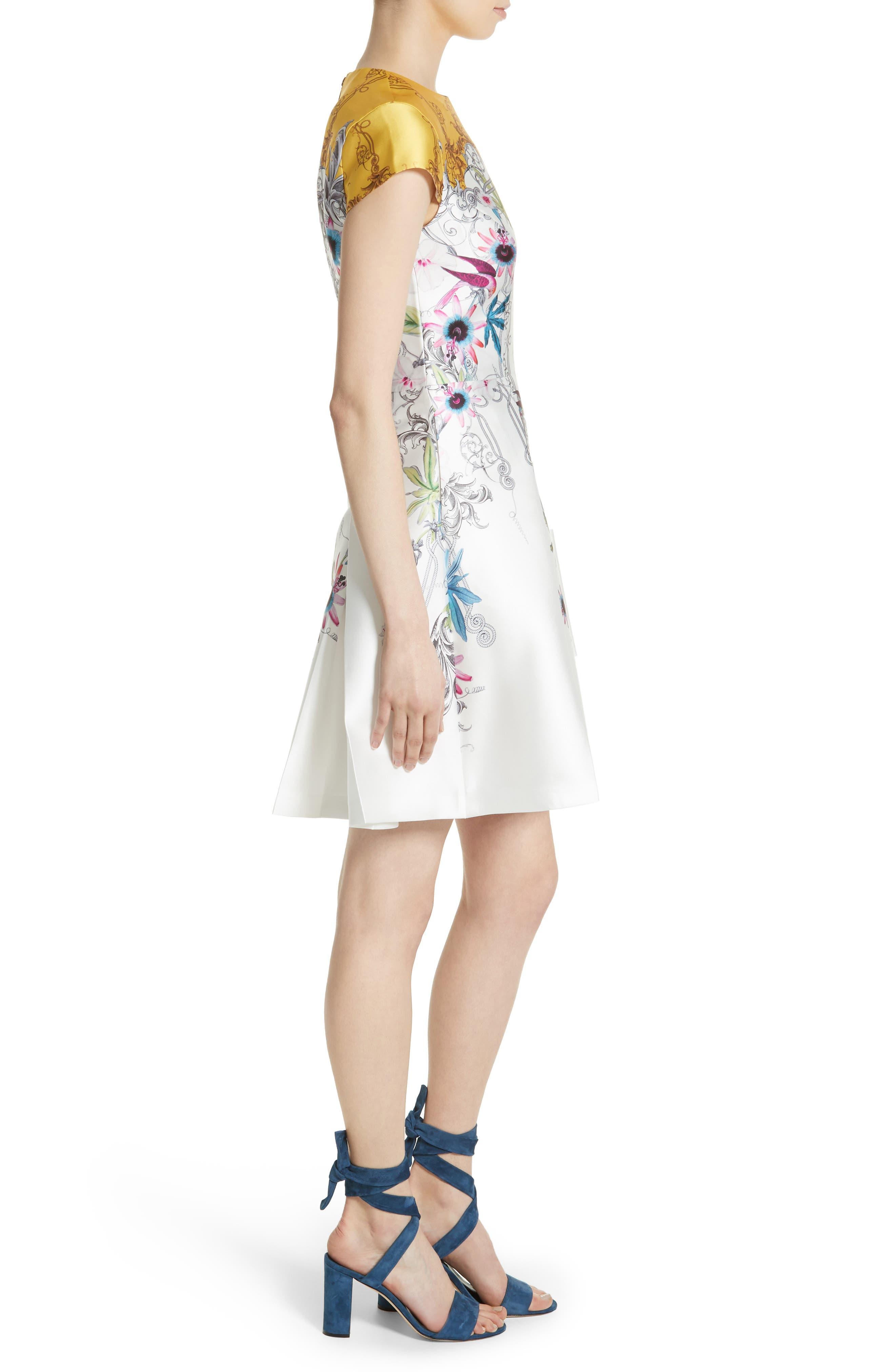 Reliat Passion Flower Cap Sleeve Dress,                             Alternate thumbnail 3, color,                             100
