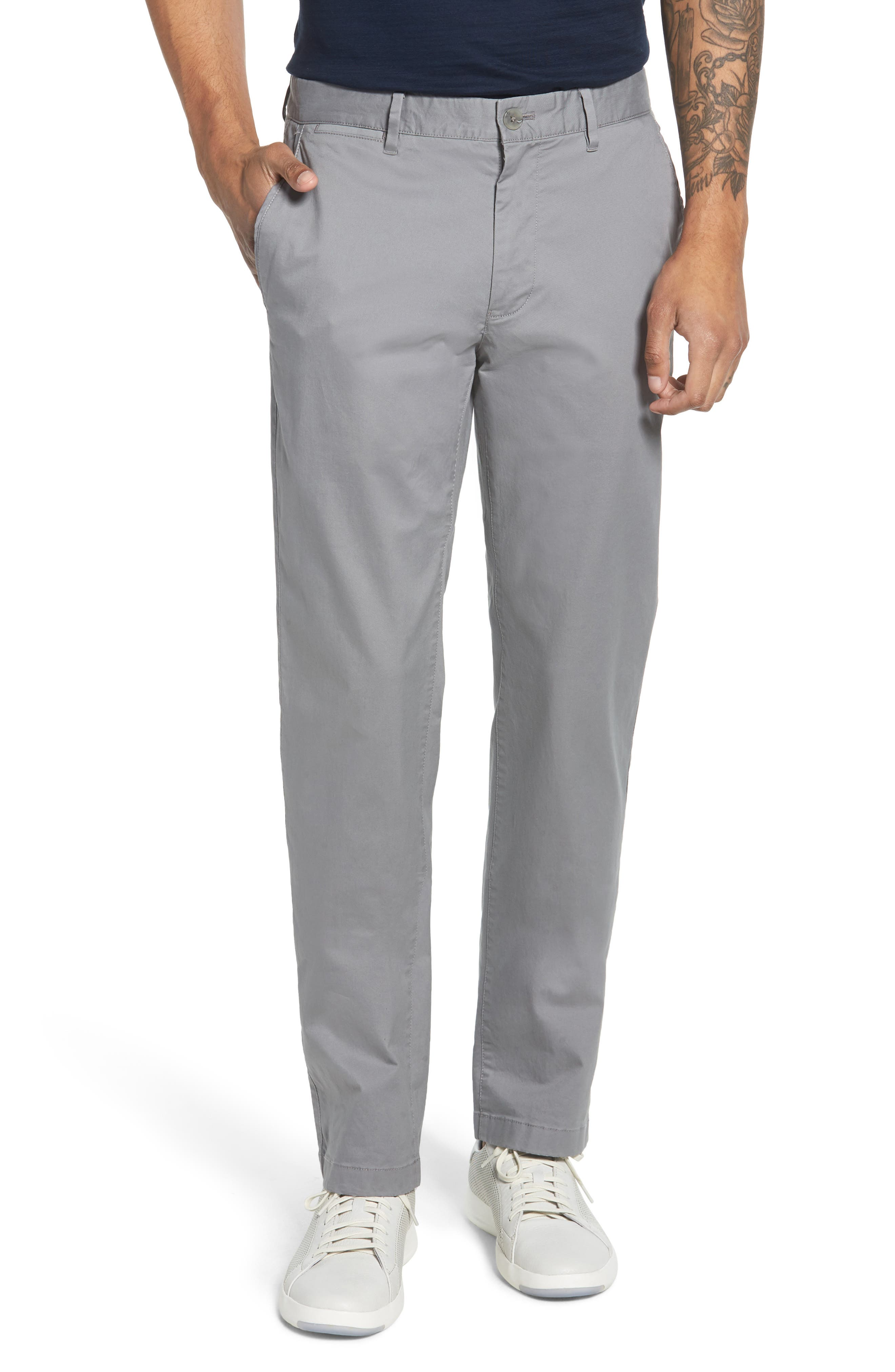 Summer Weight Slim Fit Stretch Chinos,                             Main thumbnail 1, color,                             NICKEL