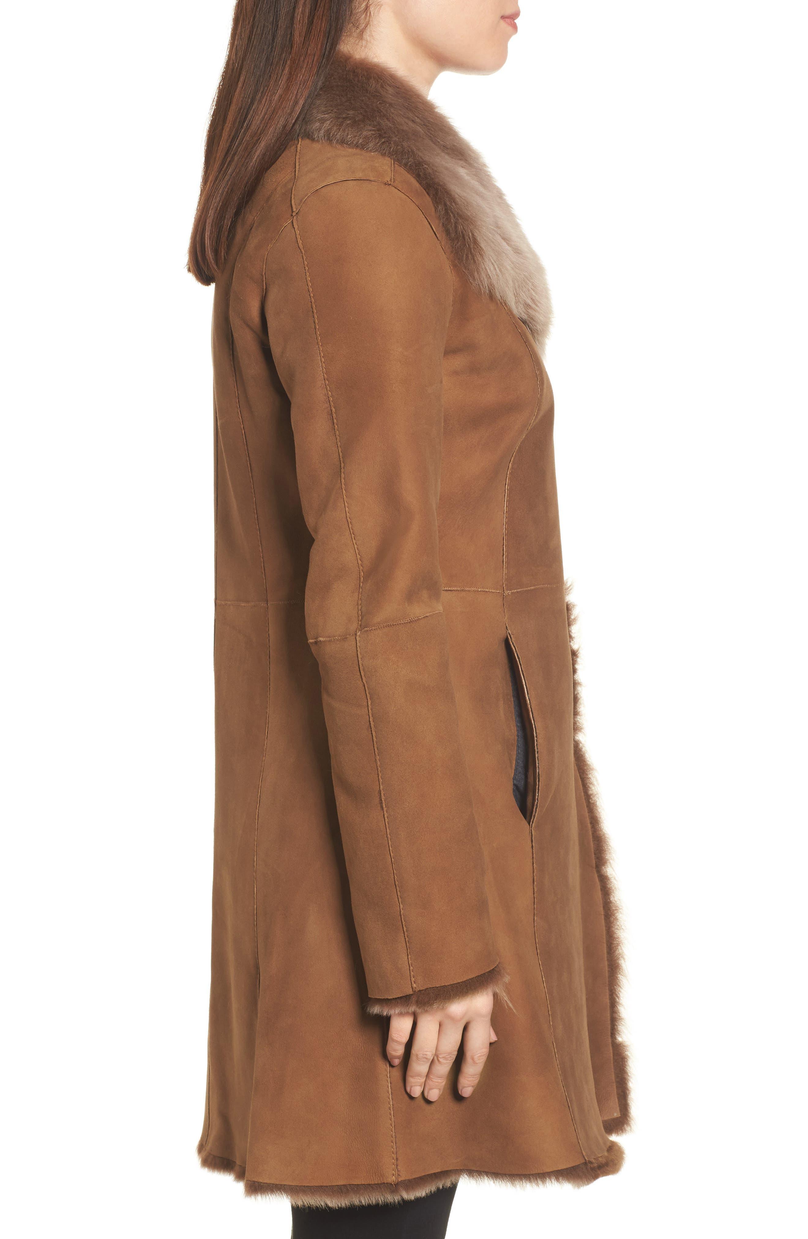 Genuine Toscana Shearling Coat,                             Alternate thumbnail 3, color,                             202