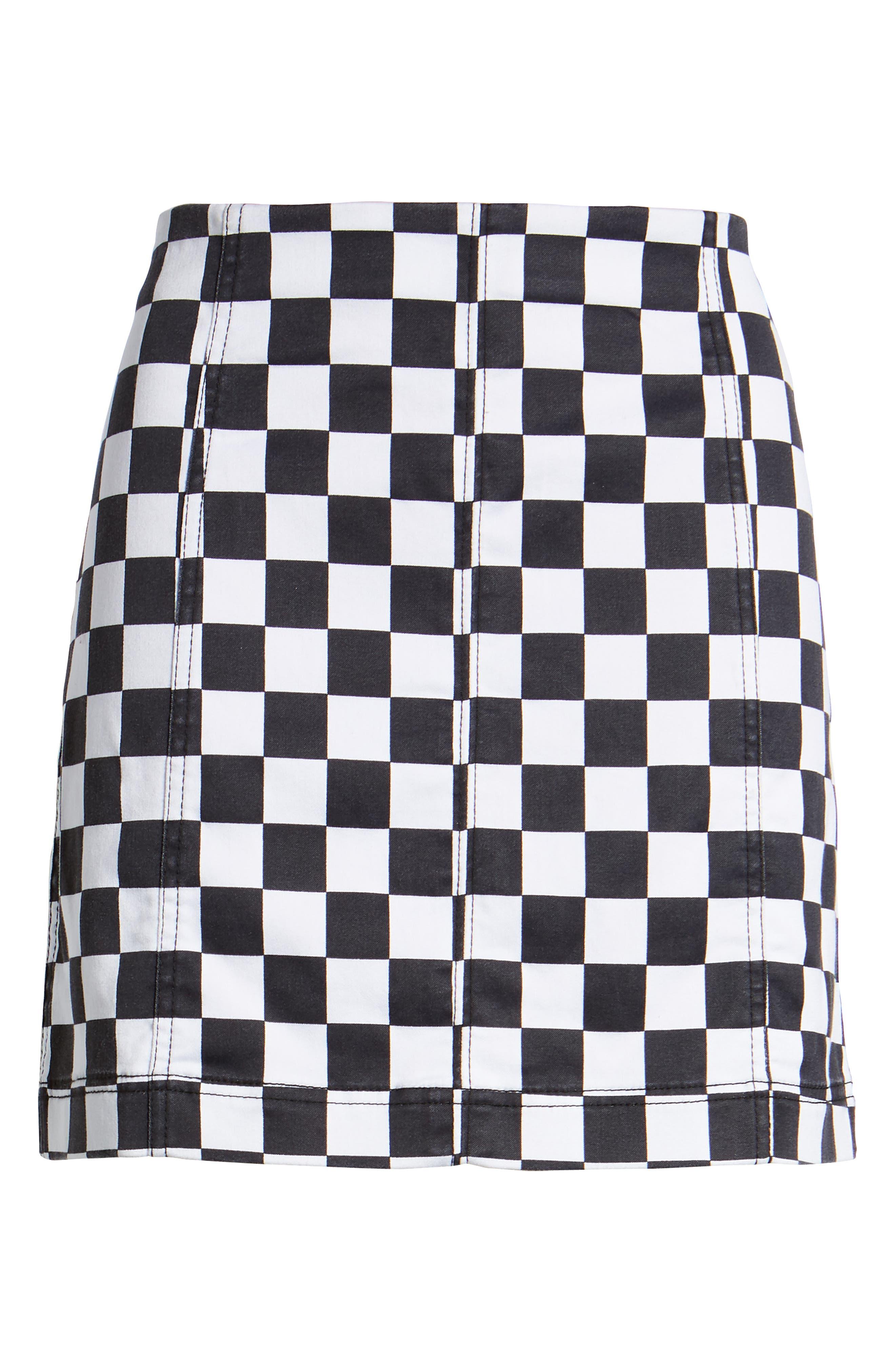 Checkered Denim Miniskirt,                             Alternate thumbnail 6, color,                             BLACK/ WHITE CHECKERED