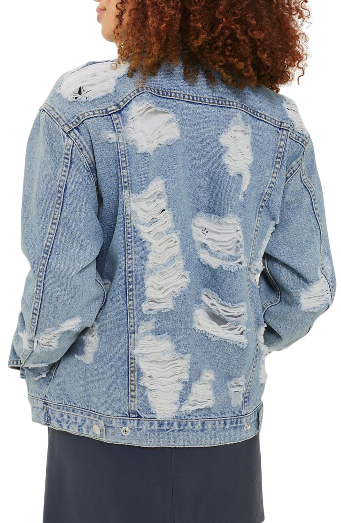Ripped Denim Jacket,                             Alternate thumbnail 3, color,                             400