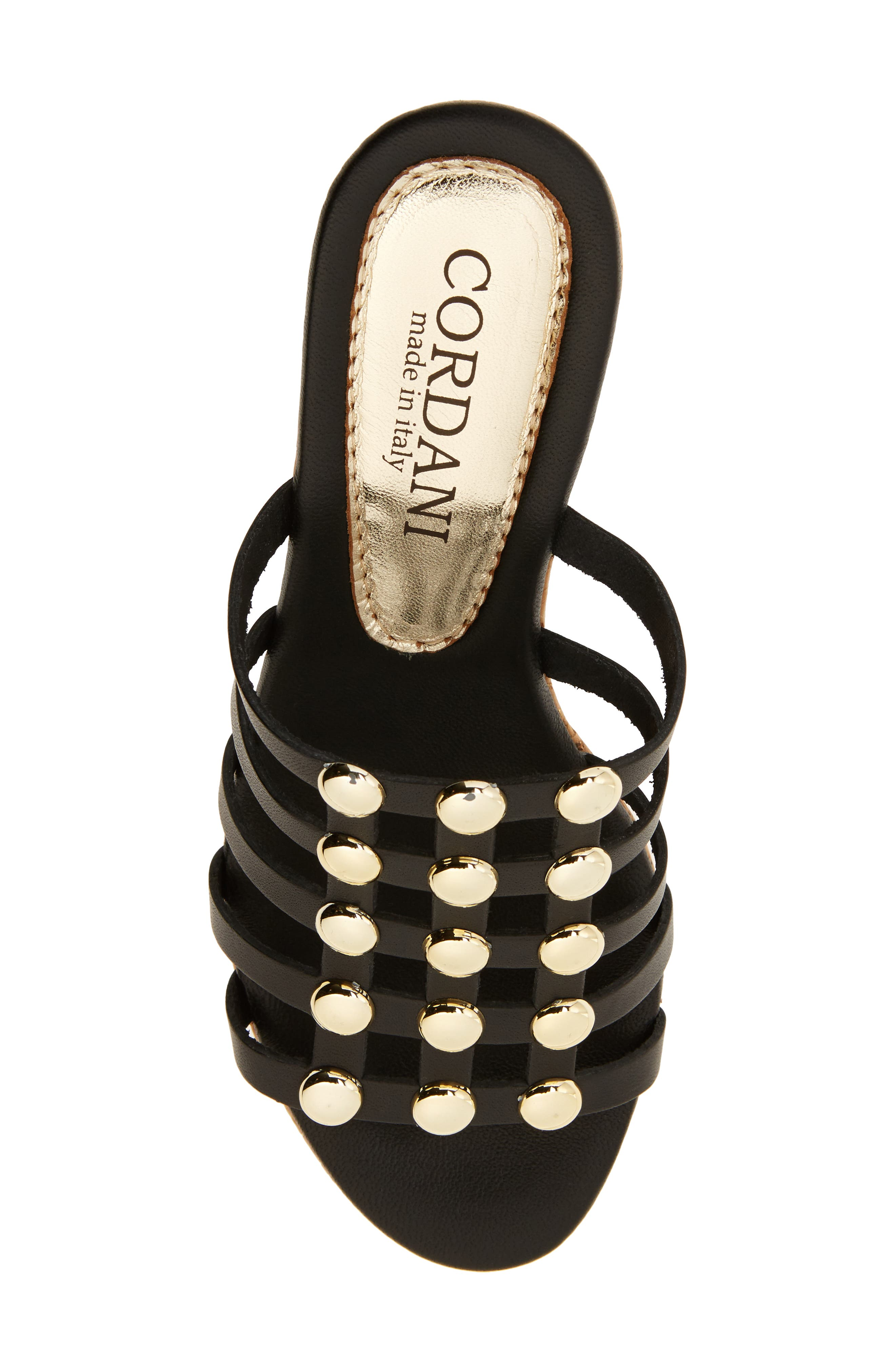 Keane Studded Slide Sandal,                             Alternate thumbnail 5, color,                             BLACK LEATHER