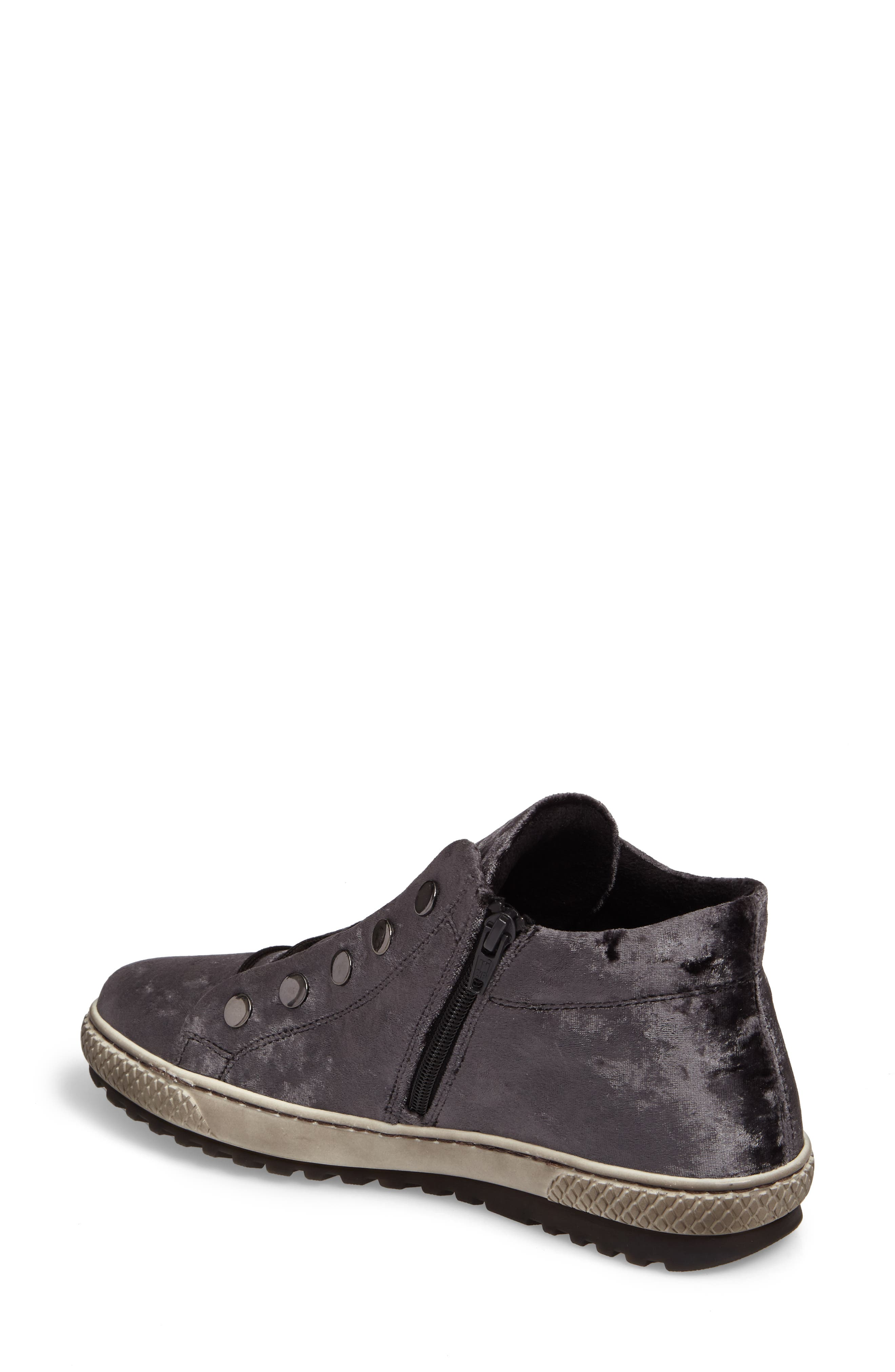 Mid Top Velvet Sneaker,                             Alternate thumbnail 2, color,                             GREY VELVET