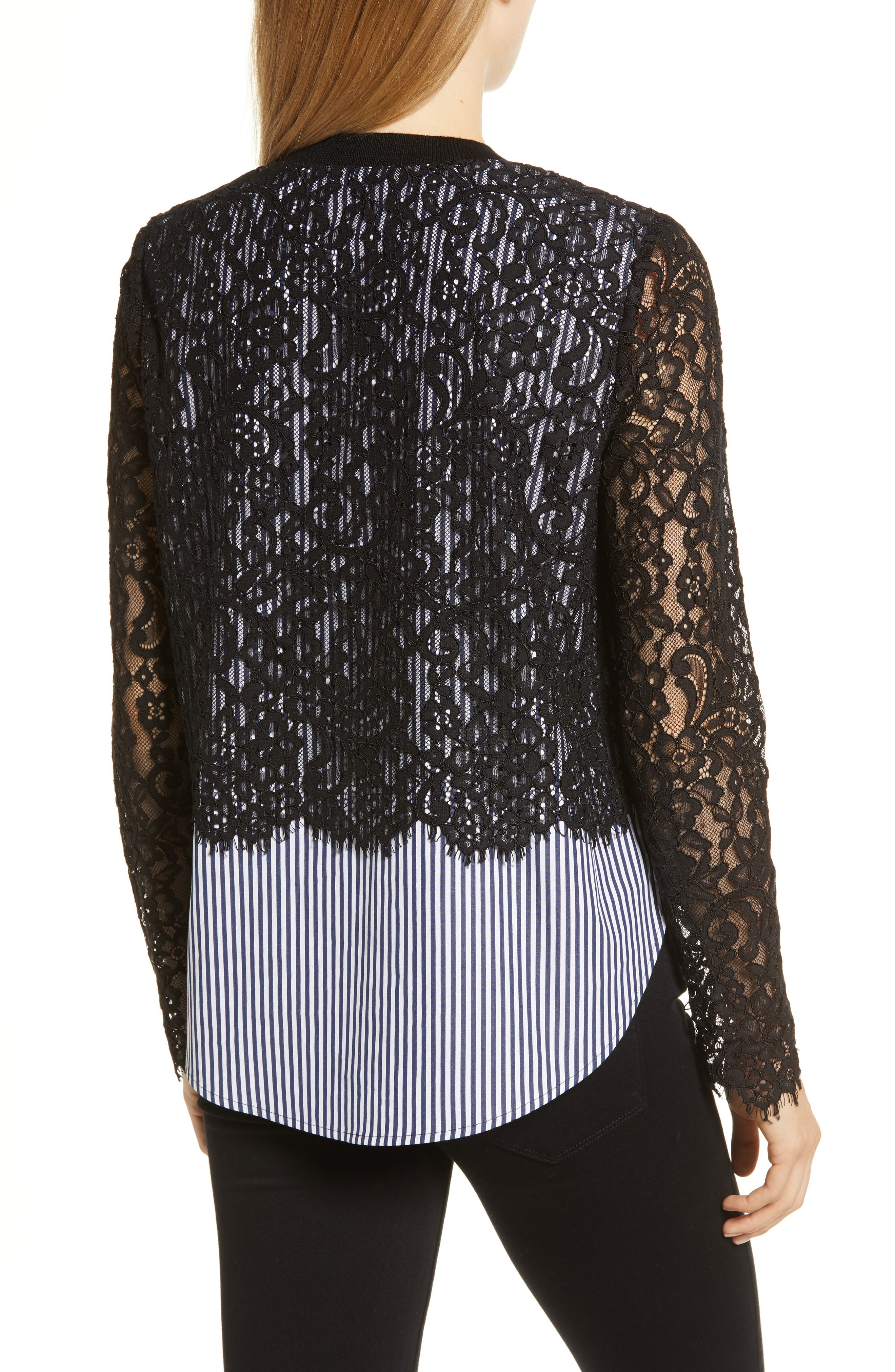 Solstice Stripe Lace Blouse,                             Alternate thumbnail 2, color,                             JET BLACK