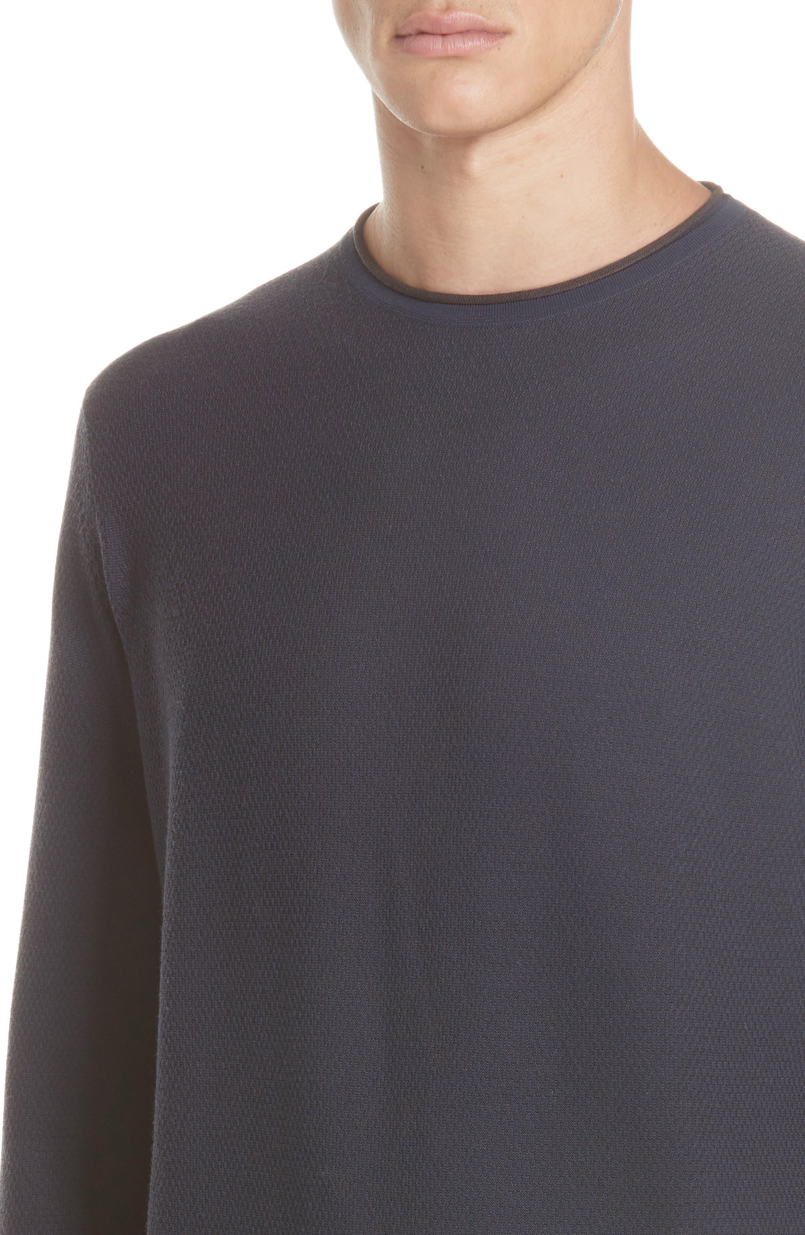 Crewneck Wool Sweater,                             Alternate thumbnail 4, color,                             NAVY