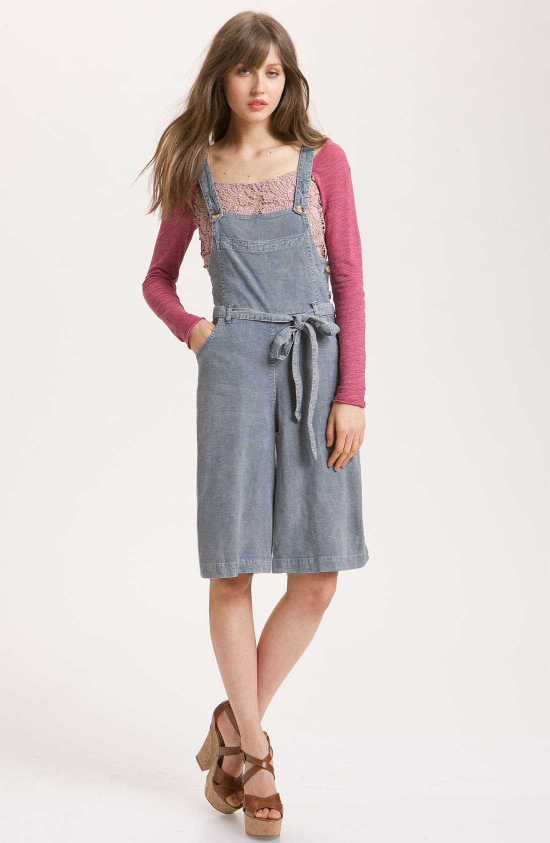 FREE PEOPLE Linen Chambray Gaucho Overalls, Main, color, 425