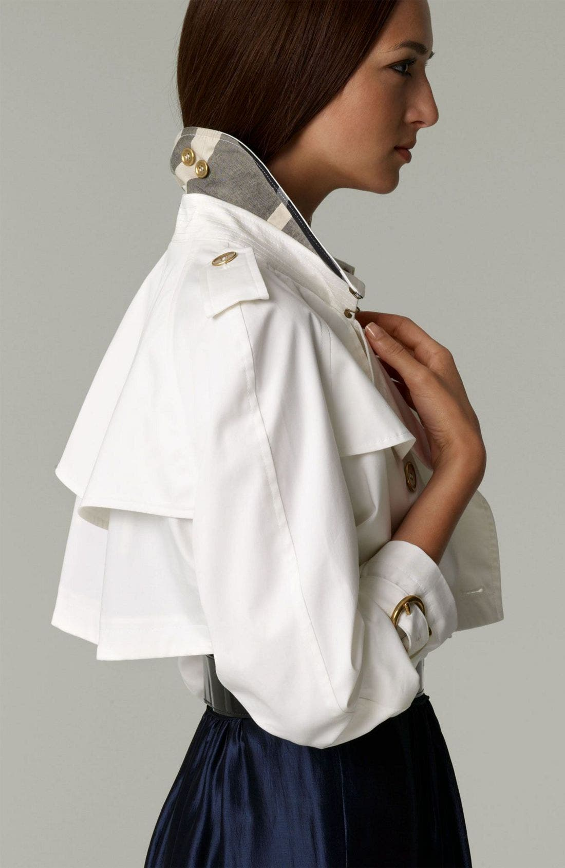 London Cotton Drill Cropped Trench Coat,                             Alternate thumbnail 2, color,                             100