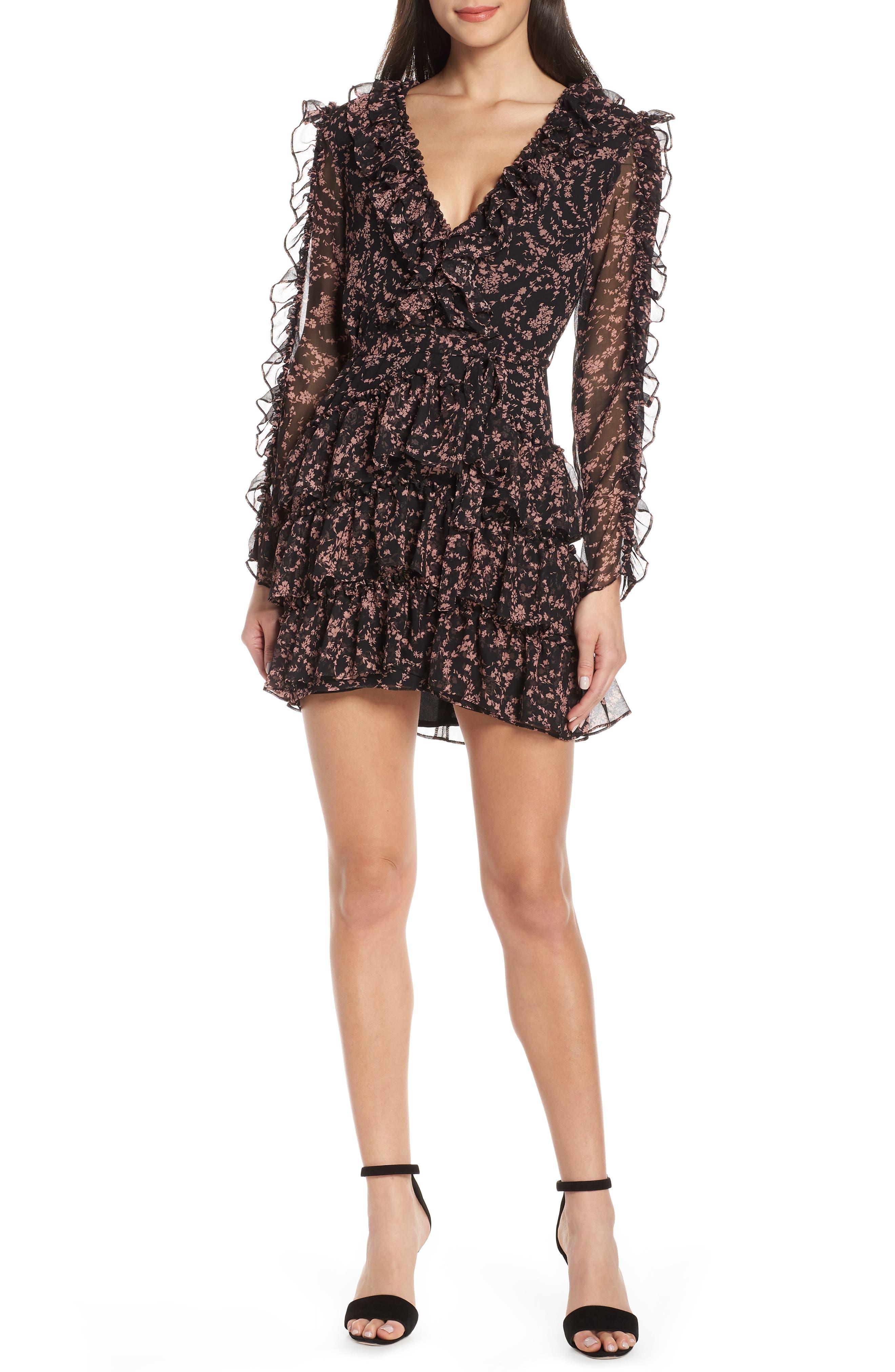 Bardot Alessia Frill Minidress, Black