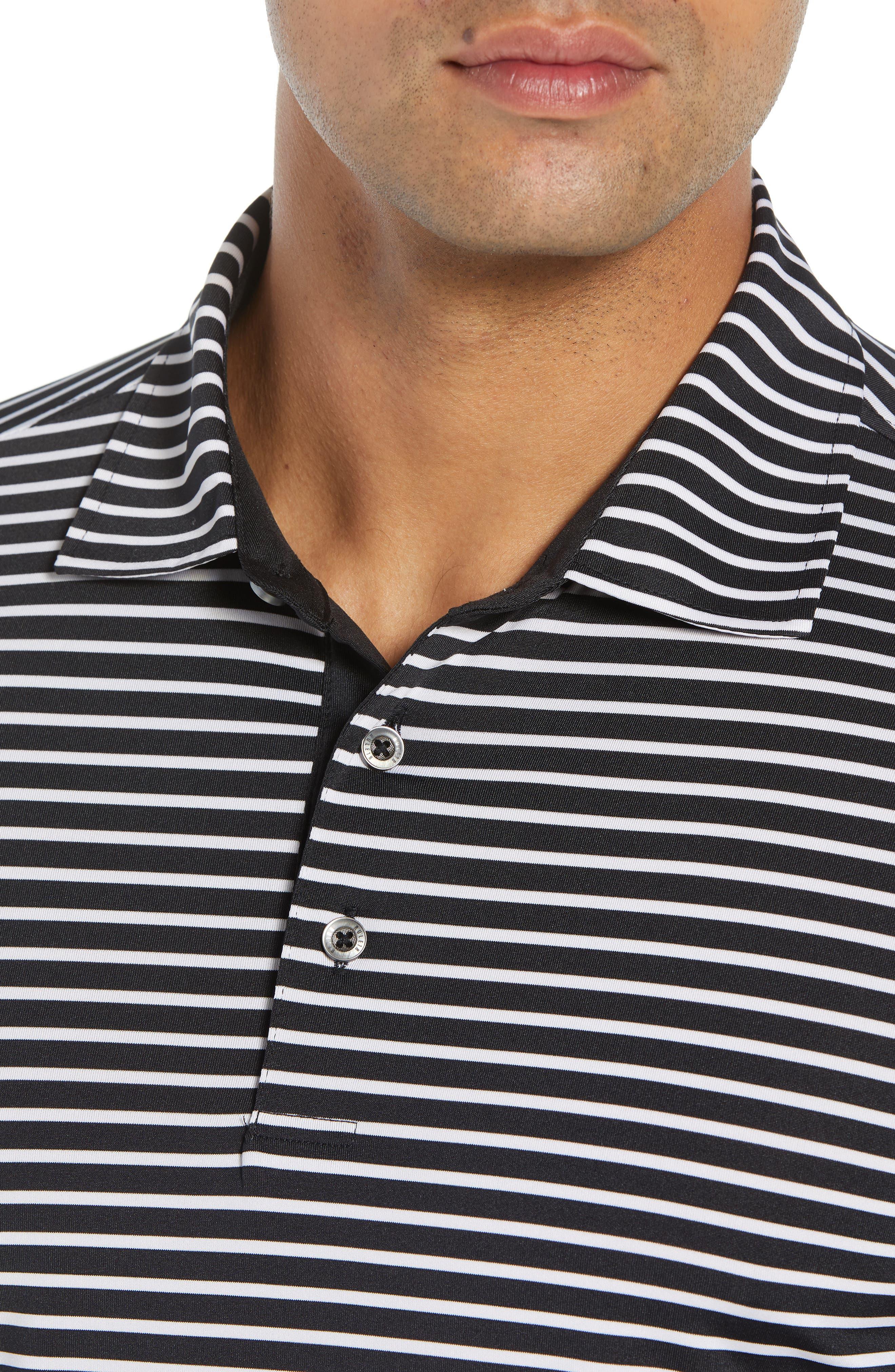 Control Stripe Jersey Polo,                             Alternate thumbnail 4, color,                             BLACK