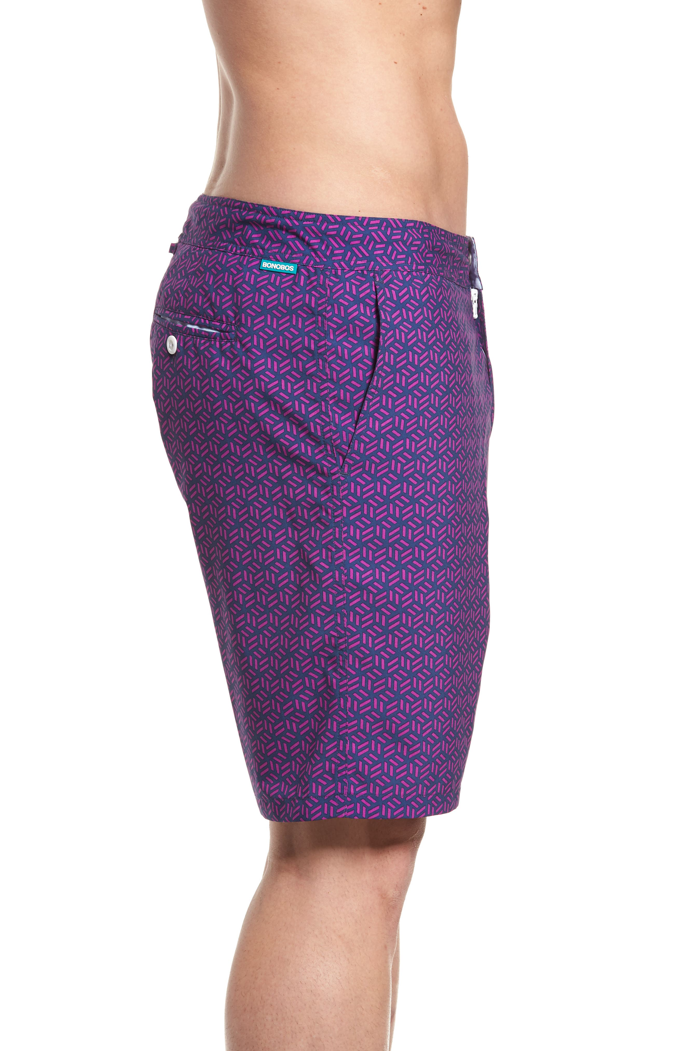 Geo Print 9-Inch Swim Trunks,                             Alternate thumbnail 3, color,                             400