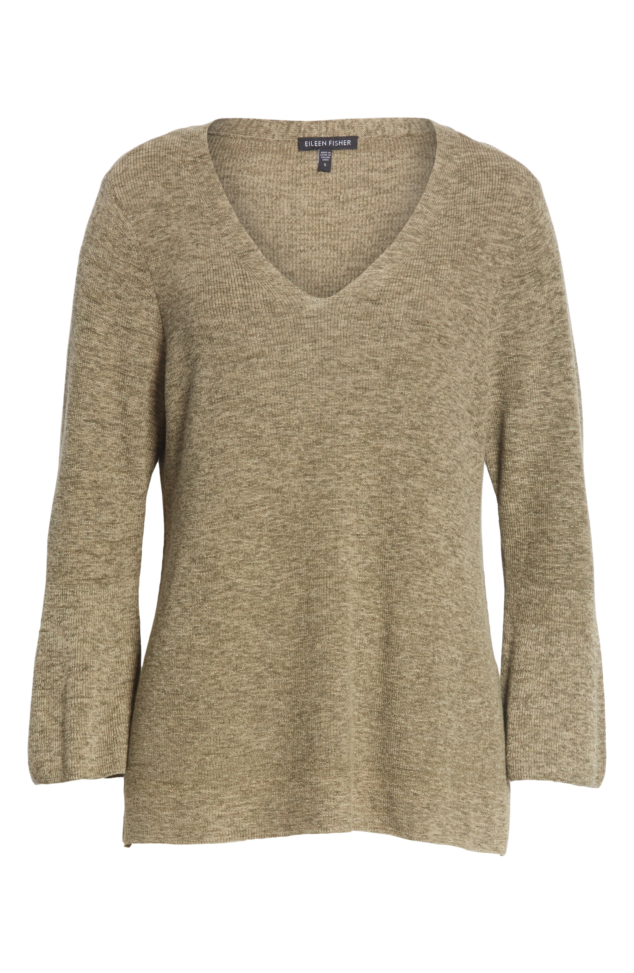 Bell Cuff Organic Cotton Sweater,                             Alternate thumbnail 6, color,                             OLIVE