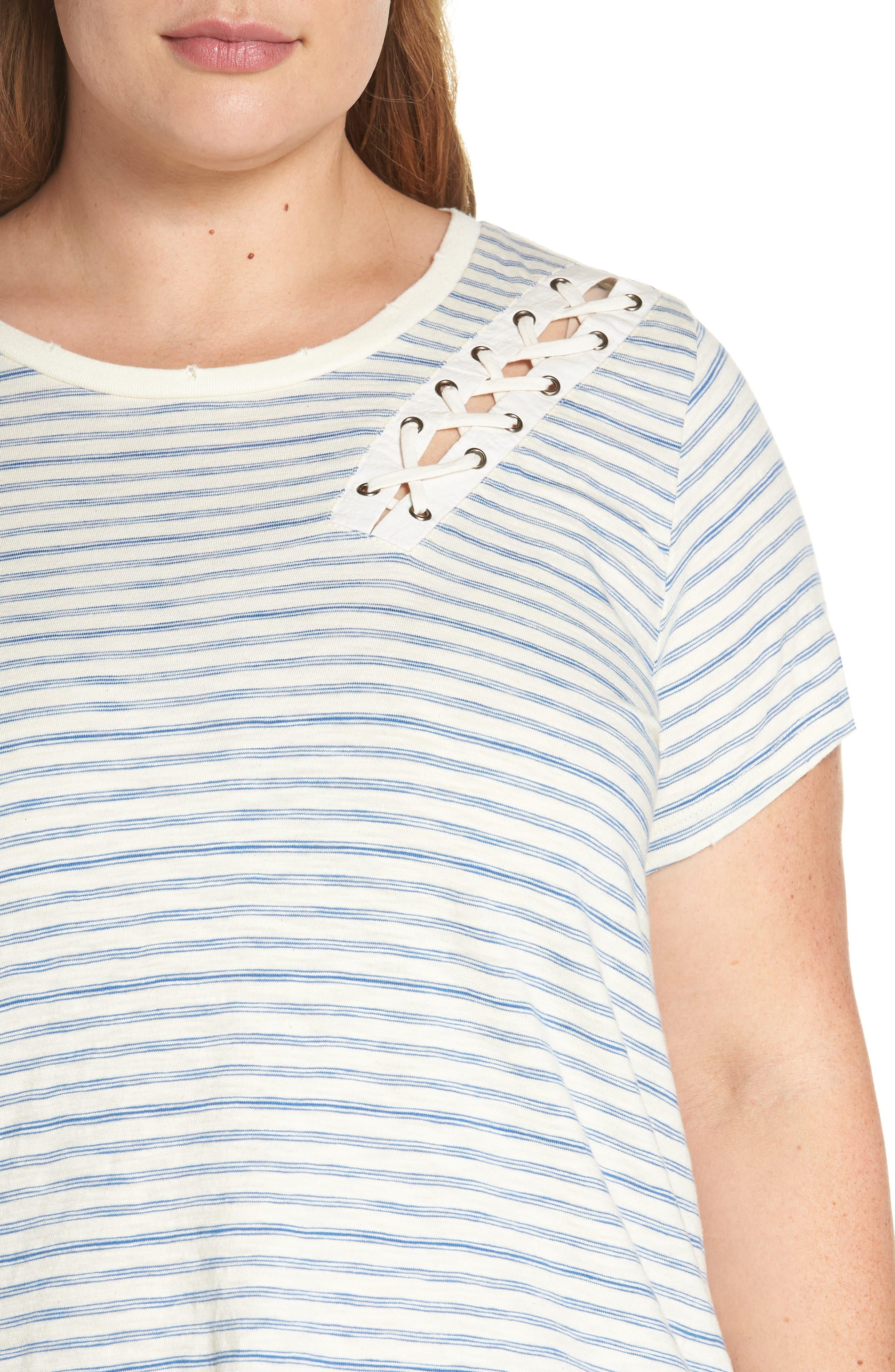 Lace-Up Shoulder Stripe Tee,                             Alternate thumbnail 4, color,                             460