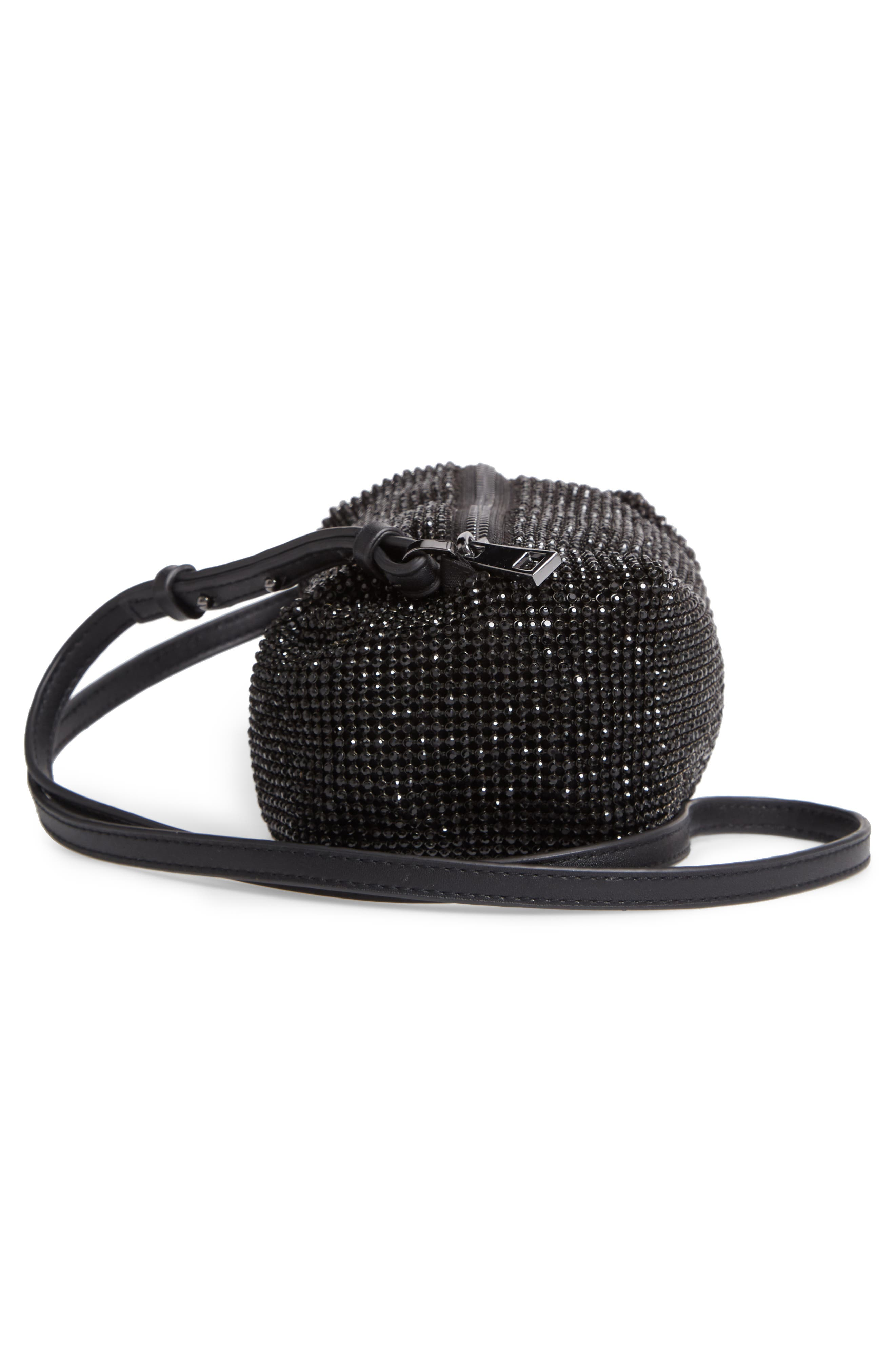 Chia Crystal Embellished Crossbody Bag,                             Alternate thumbnail 5, color,                             BLACK