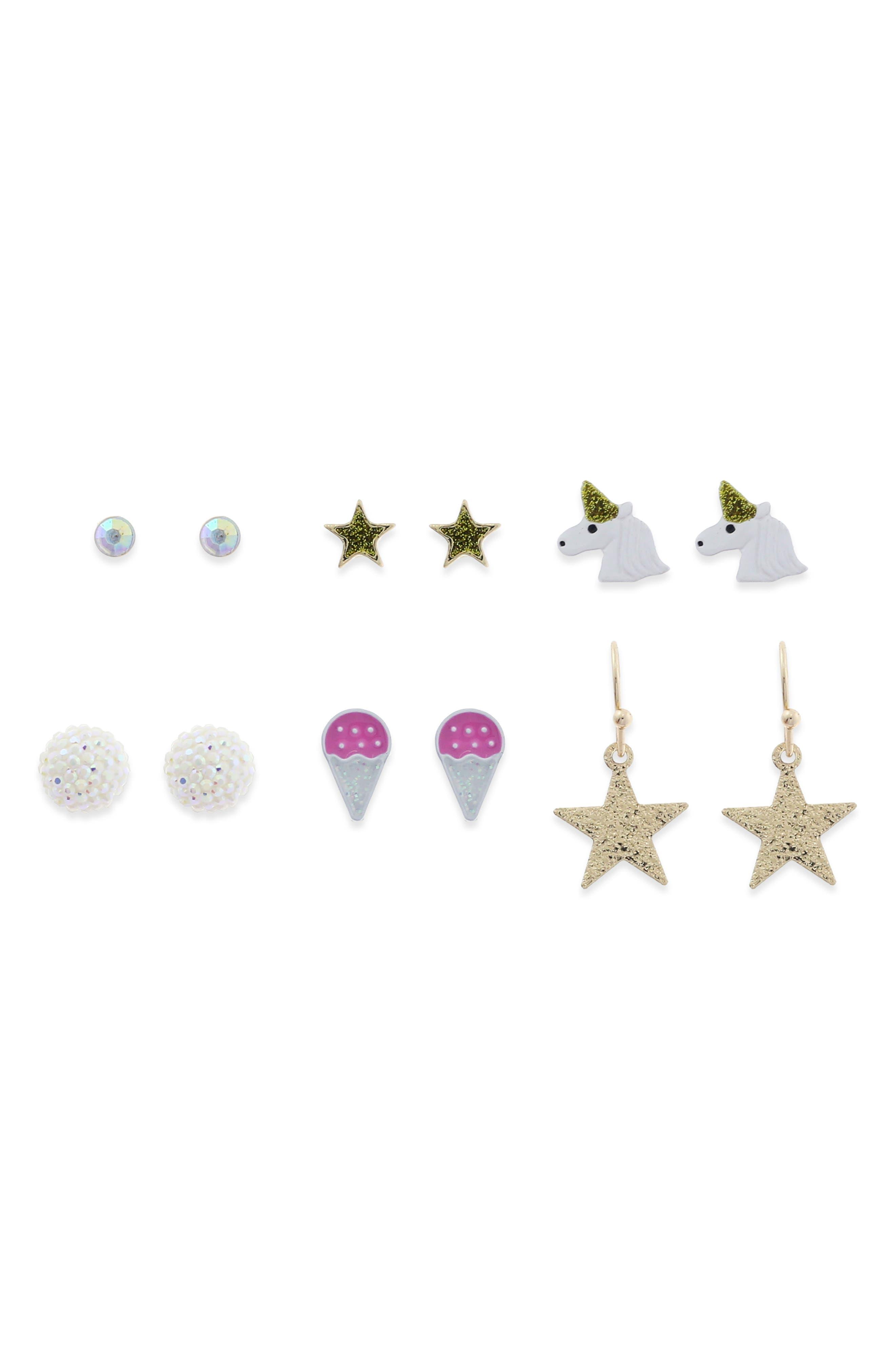 Set of 6 Girl Power Earrings,                         Main,                         color, 710